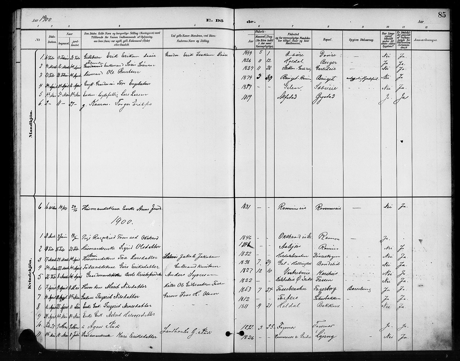 SAH, Nord-Aurdal prestekontor, Klokkerbok nr. 11, 1897-1918, s. 85