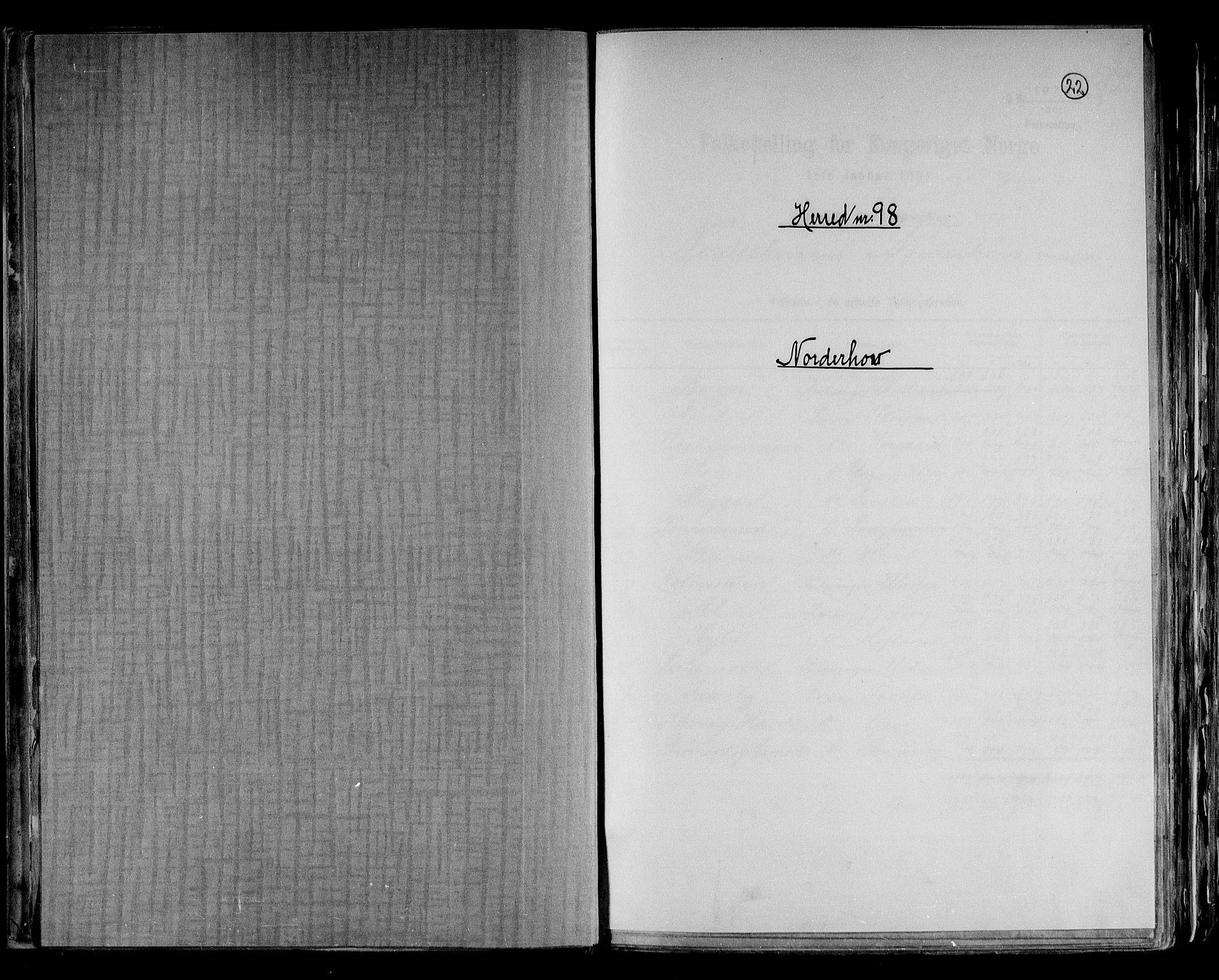 RA, Folketelling 1891 for 0613 Norderhov herred, 1891, s. 1