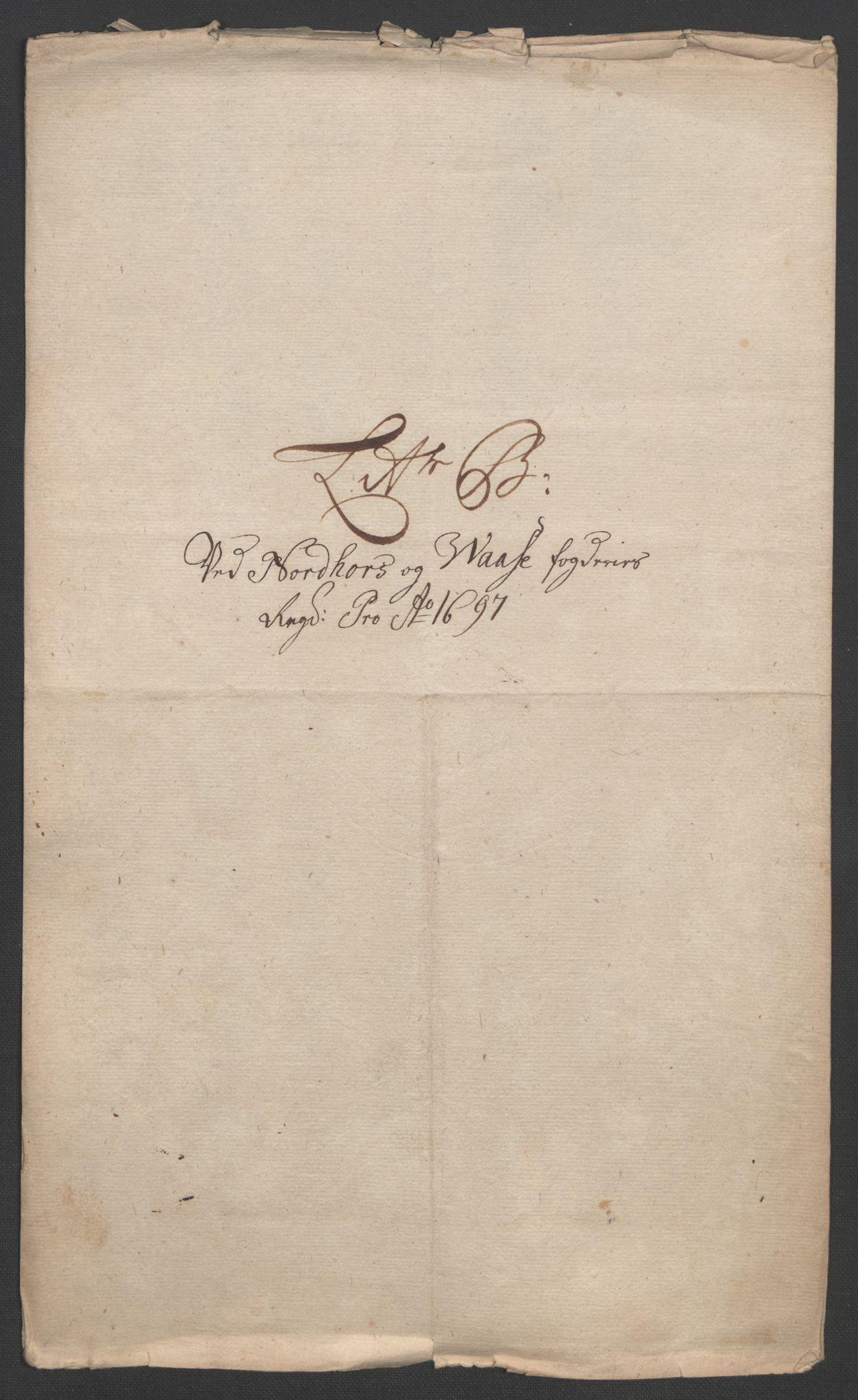 RA, Rentekammeret inntil 1814, Reviderte regnskaper, Fogderegnskap, R51/L3183: Fogderegnskap Nordhordland og Voss, 1695-1697, s. 433