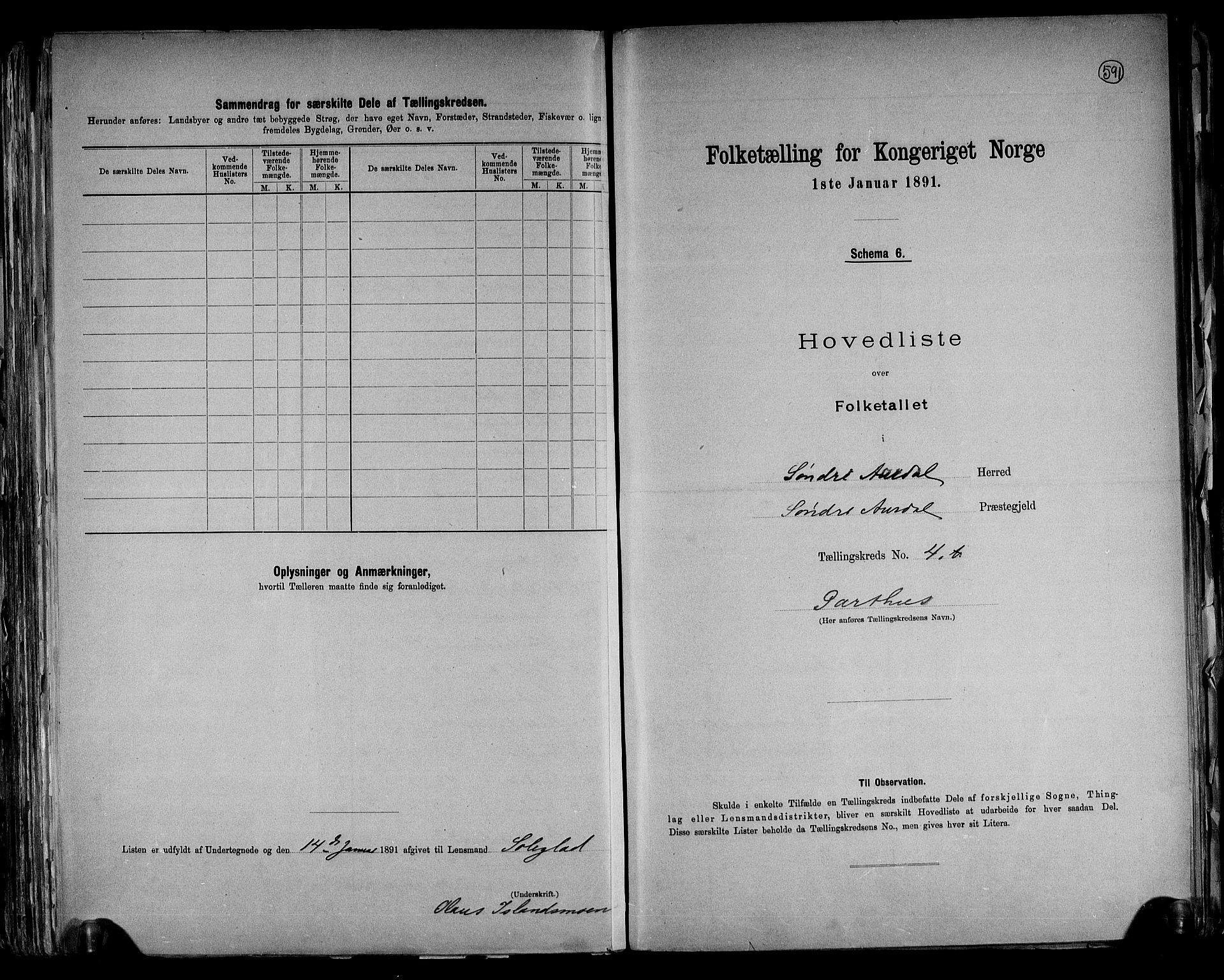 RA, Folketelling 1891 for 0540 Sør-Aurdal herred, 1891, s. 14