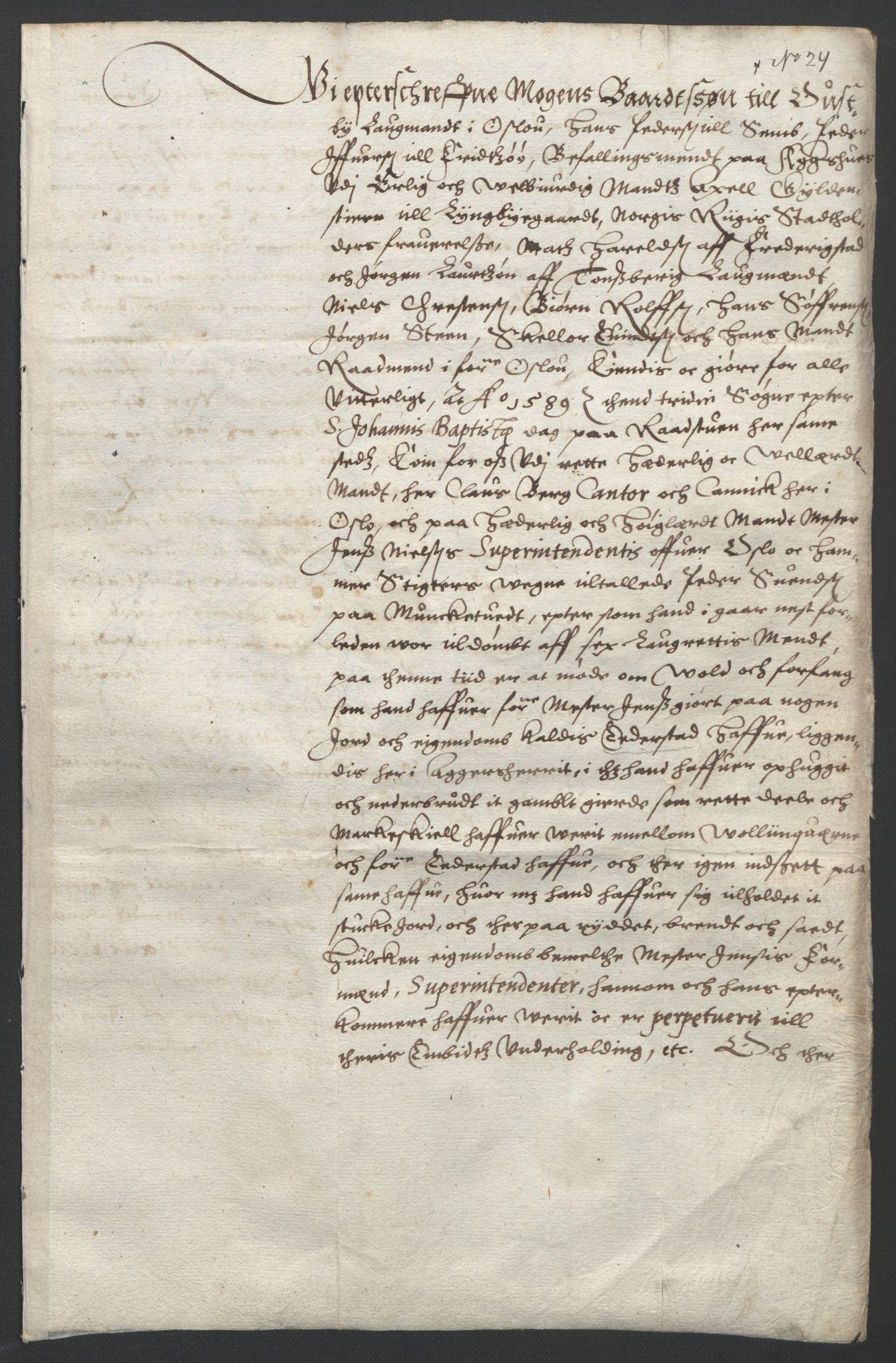 SAO, Oslo stiftsdireksjon, G/Gb/L0001: Bispestolens dokumenter, 1584-1612, s. 24