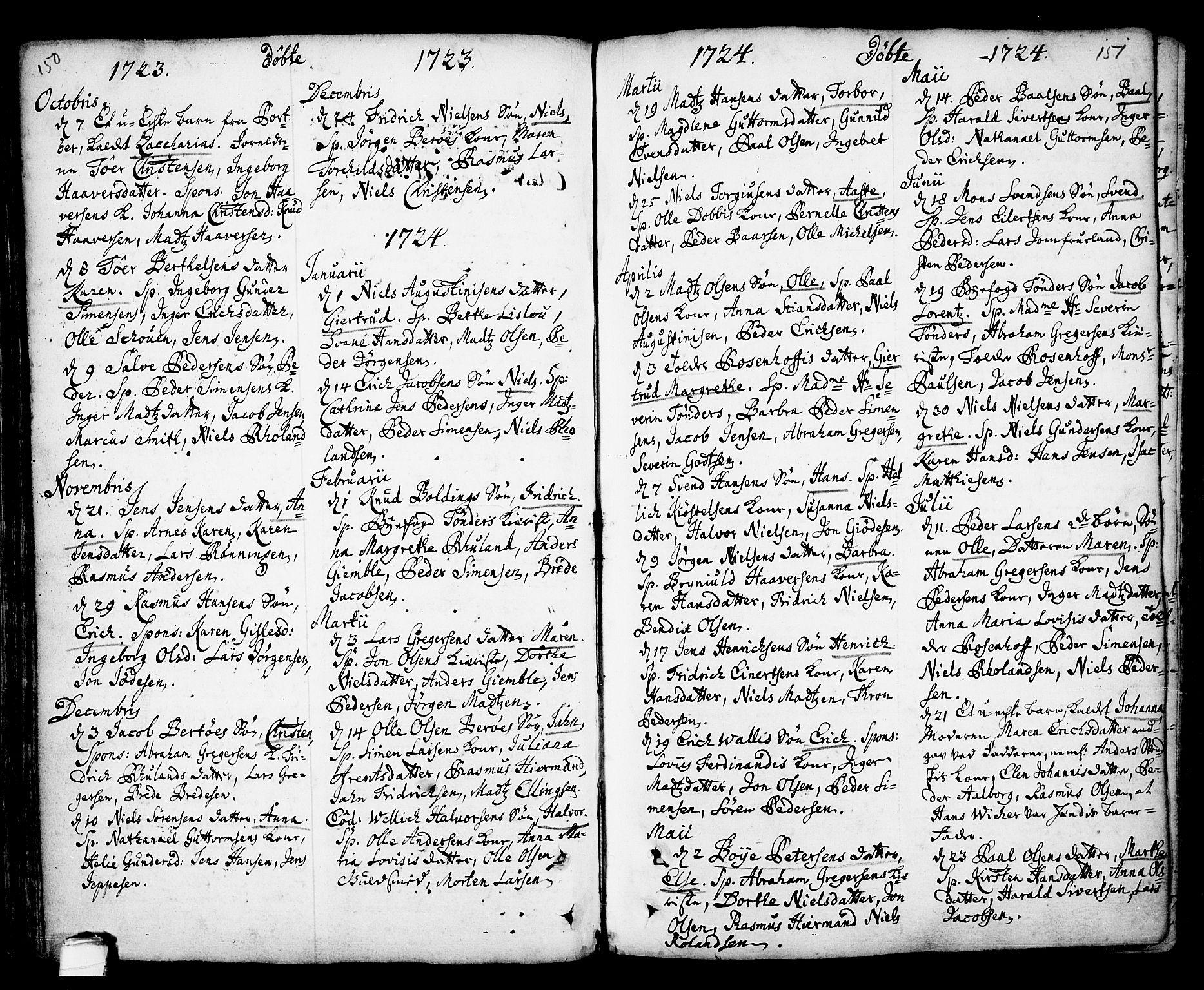 SAKO, Kragerø kirkebøker, F/Fa/L0001: Ministerialbok nr. 1, 1702-1766, s. 150-151