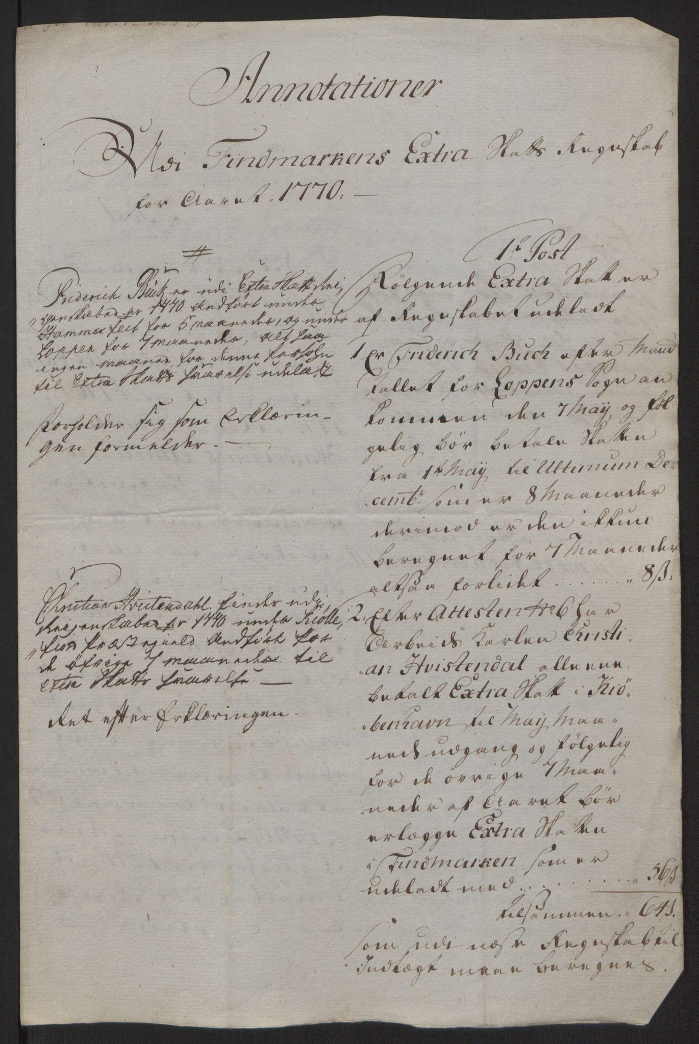 RA, Rentekammeret inntil 1814, Reviderte regnskaper, Fogderegnskap, R69/L4910: Ekstraskatten  Finnmark/Vardøhus, 1762-1772, s. 438