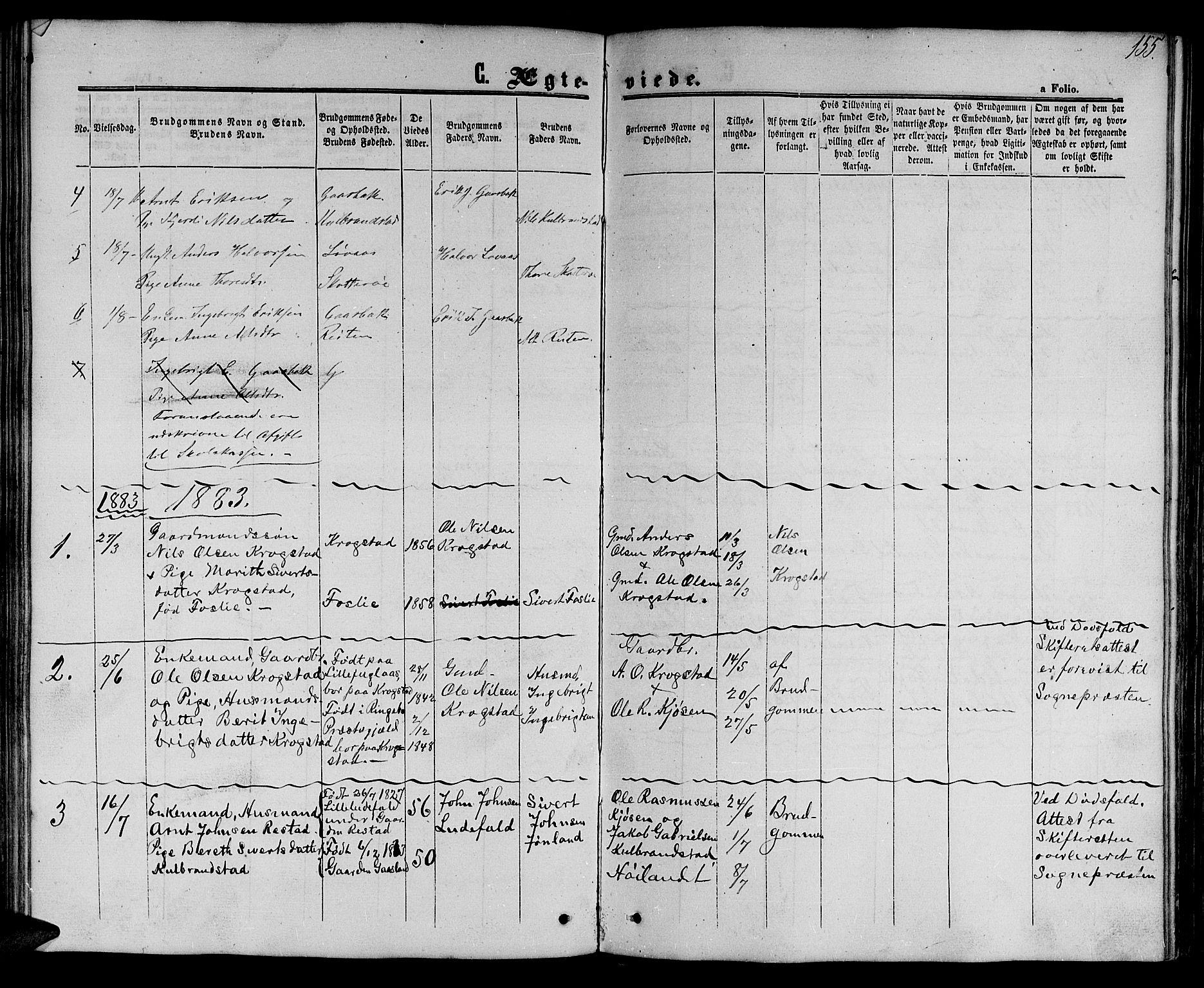 SAT, Ministerialprotokoller, klokkerbøker og fødselsregistre - Sør-Trøndelag, 694/L1131: Klokkerbok nr. 694C03, 1858-1886, s. 155