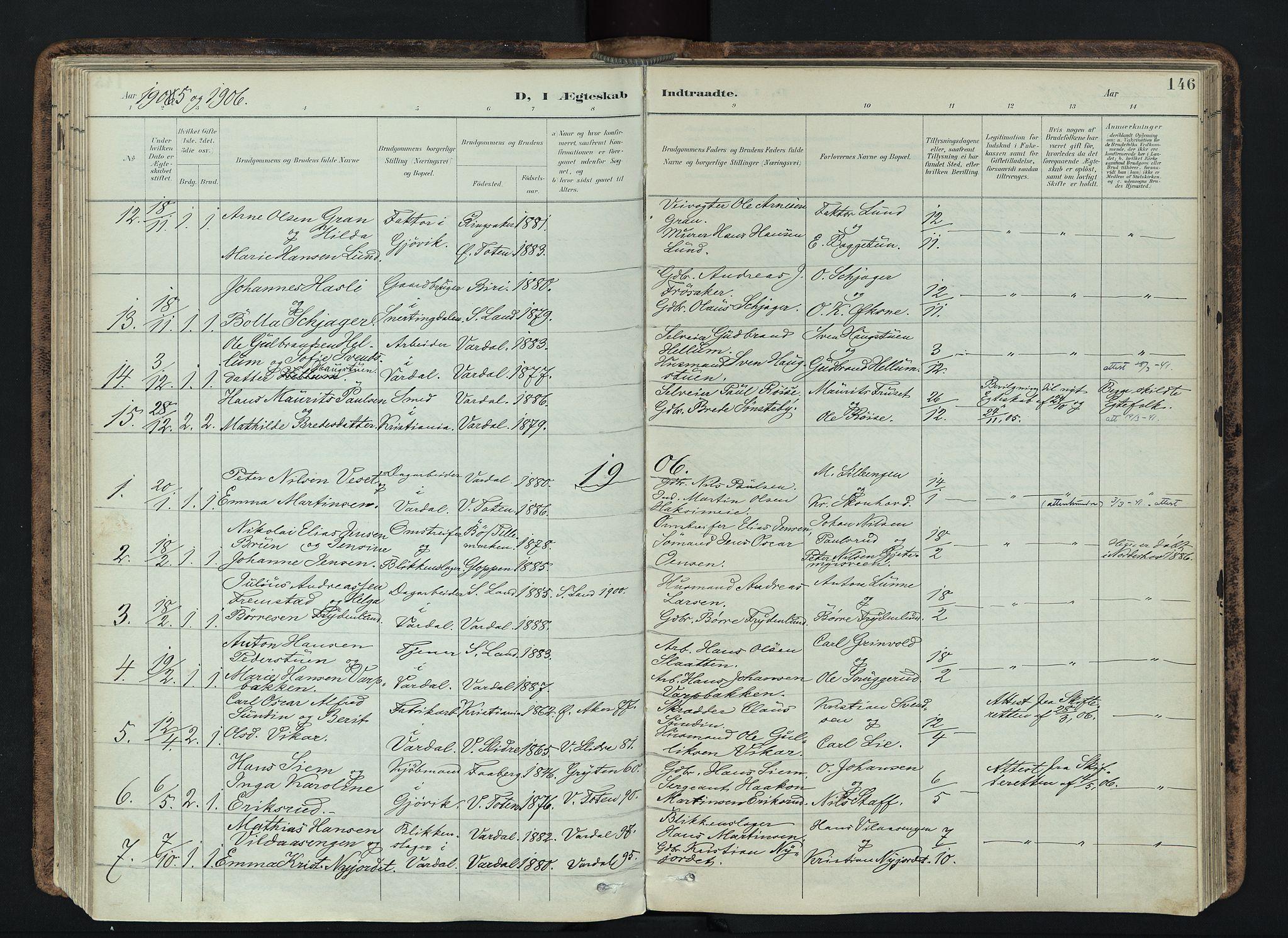 SAH, Vardal prestekontor, H/Ha/Haa/L0019: Ministerialbok nr. 19, 1893-1907, s. 146