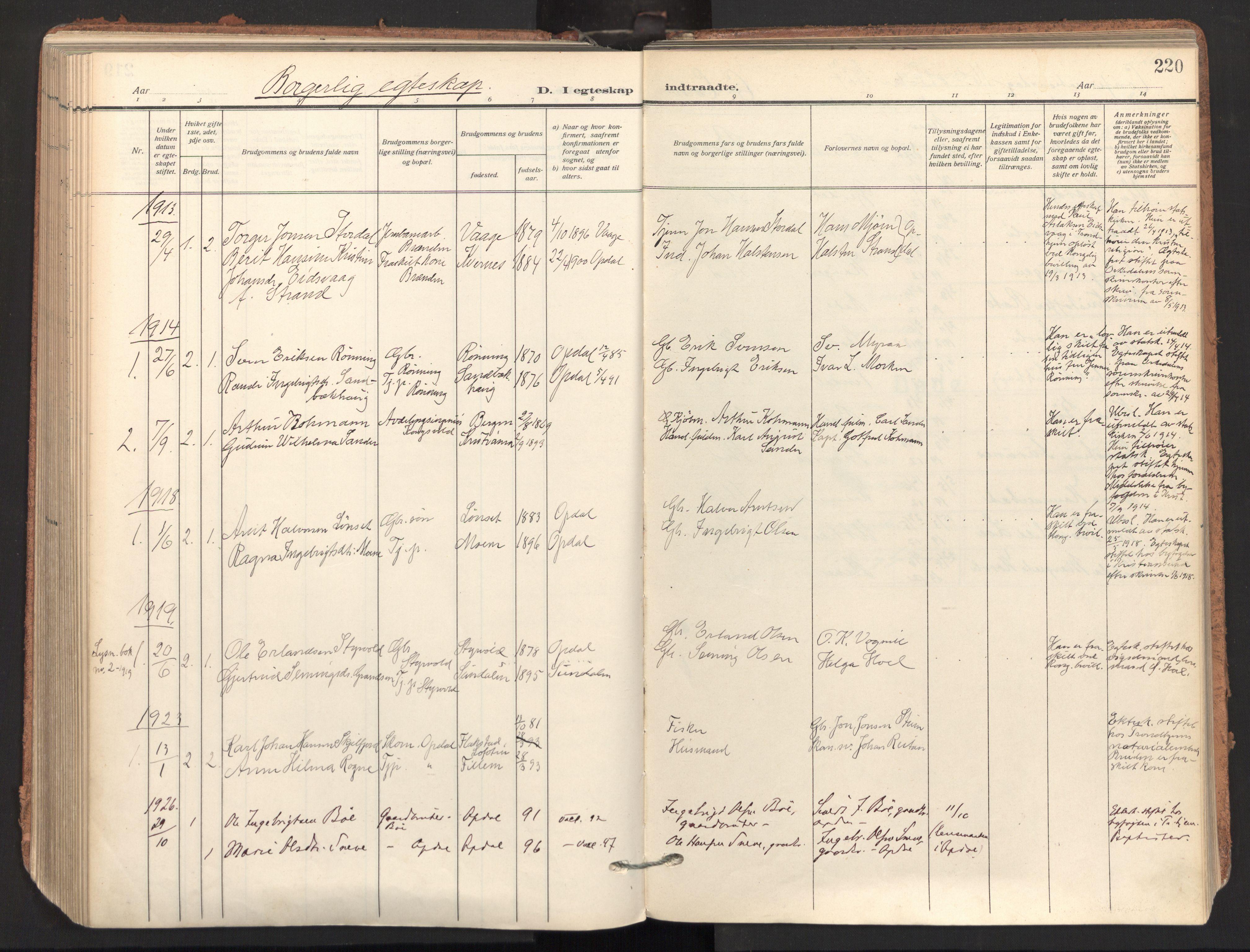 SAT, Ministerialprotokoller, klokkerbøker og fødselsregistre - Sør-Trøndelag, 678/L0909: Ministerialbok nr. 678A17, 1912-1930, s. 220