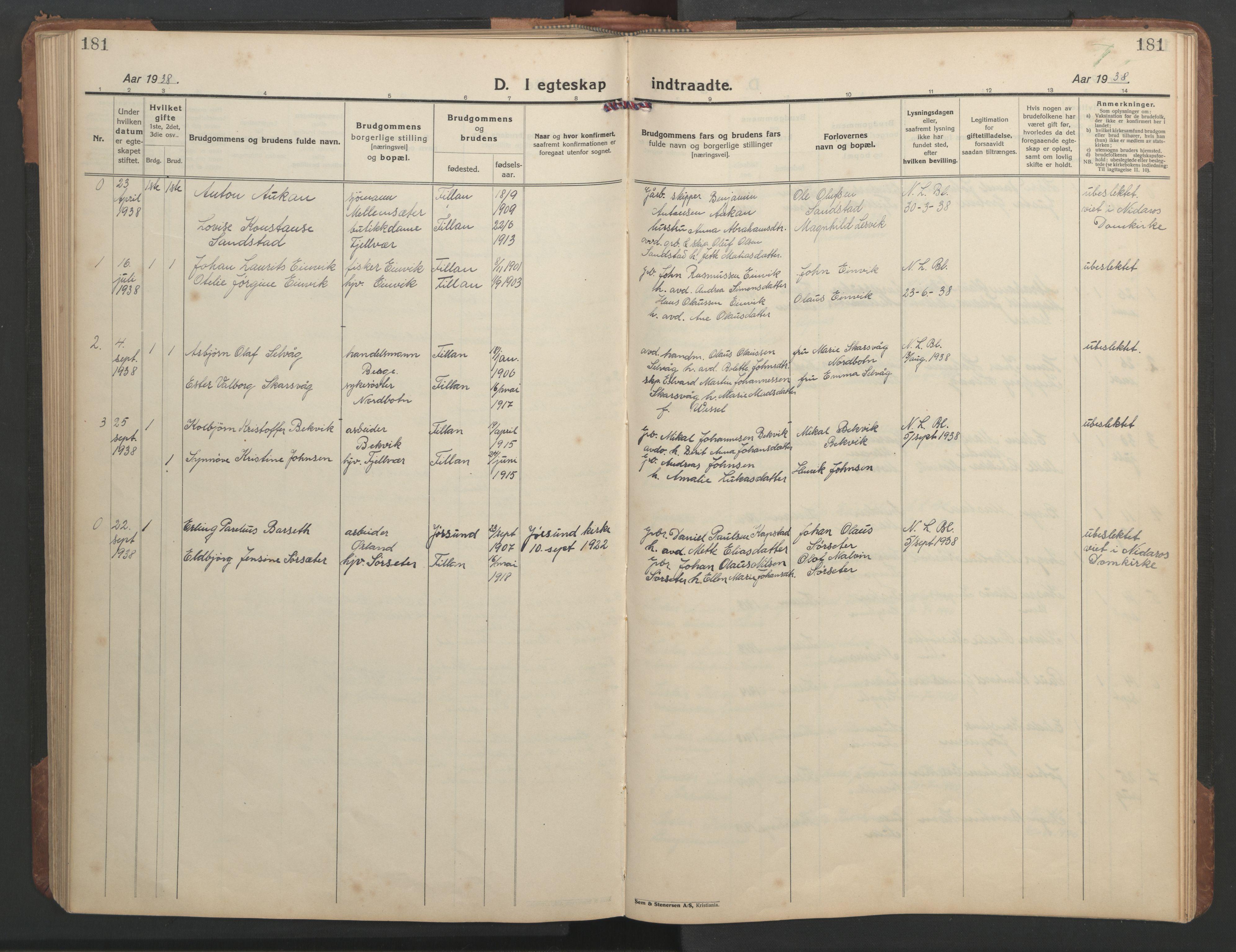 SAT, Ministerialprotokoller, klokkerbøker og fødselsregistre - Sør-Trøndelag, 638/L0569: Klokkerbok nr. 638C01, 1923-1961, s. 181