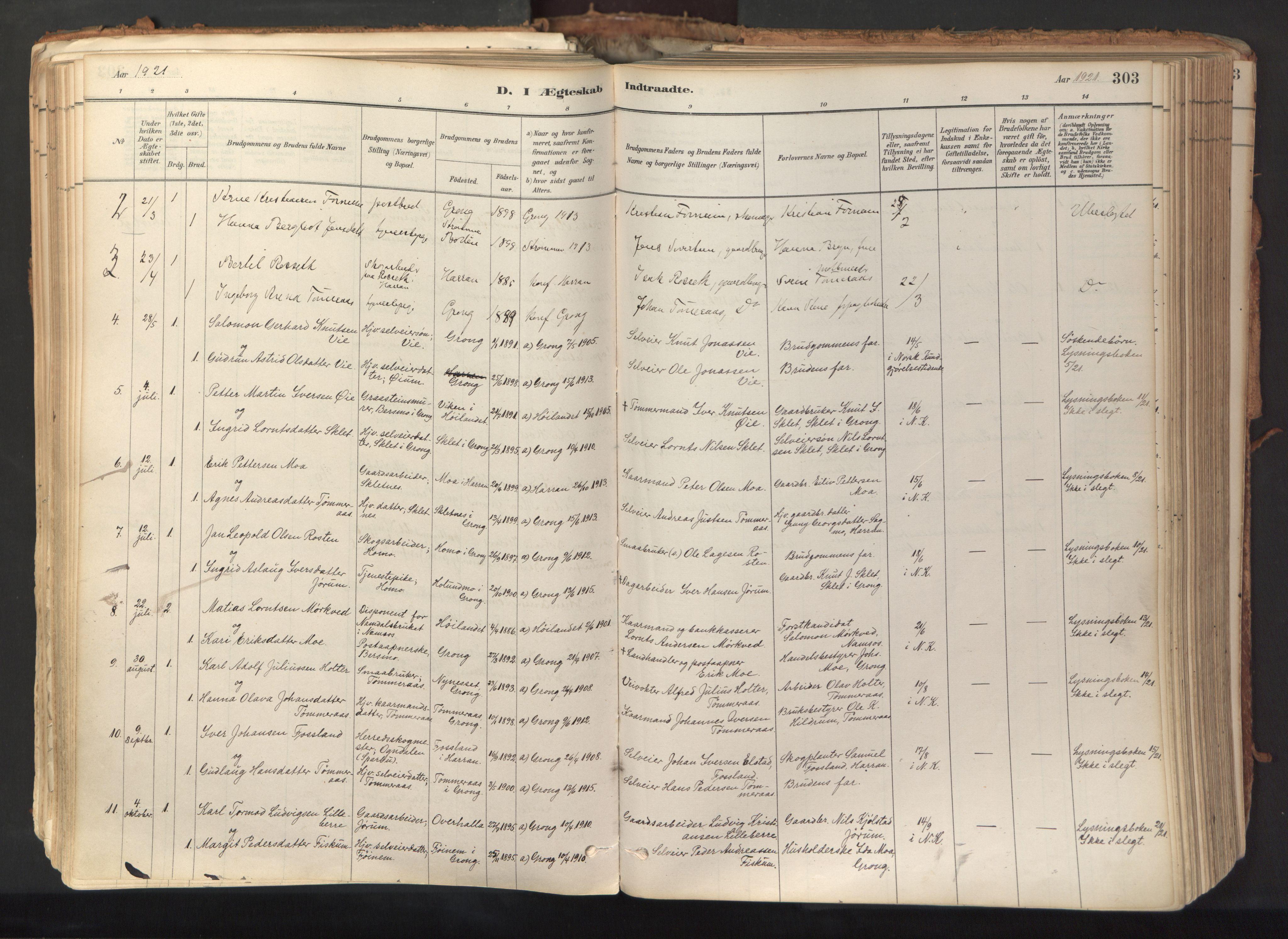 SAT, Ministerialprotokoller, klokkerbøker og fødselsregistre - Nord-Trøndelag, 758/L0519: Ministerialbok nr. 758A04, 1880-1926, s. 303