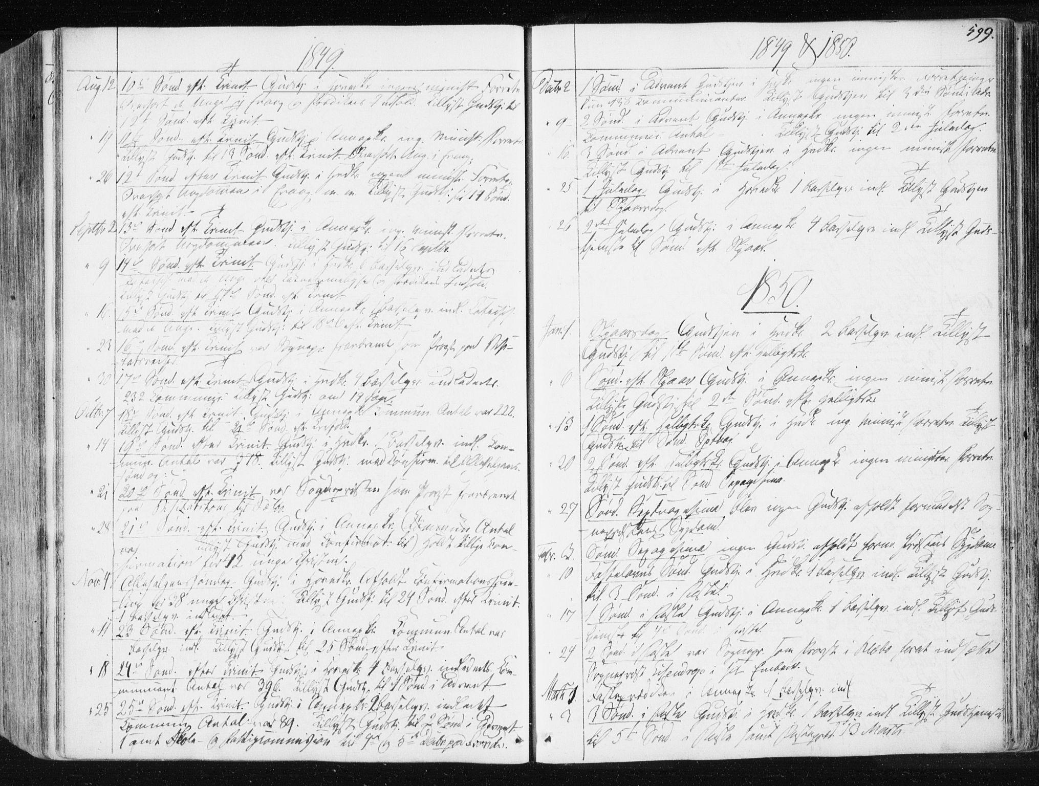 SAT, Ministerialprotokoller, klokkerbøker og fødselsregistre - Sør-Trøndelag, 665/L0771: Ministerialbok nr. 665A06, 1830-1856, s. 599