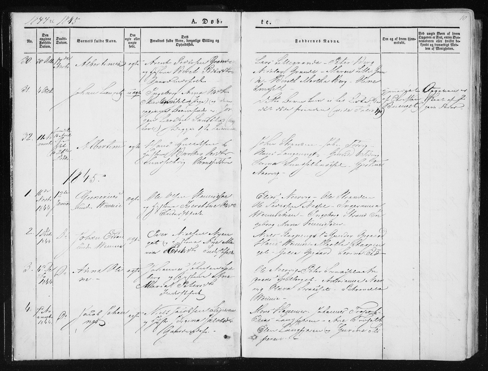 SAT, Ministerialprotokoller, klokkerbøker og fødselsregistre - Nord-Trøndelag, 733/L0323: Ministerialbok nr. 733A02, 1843-1870, s. 10