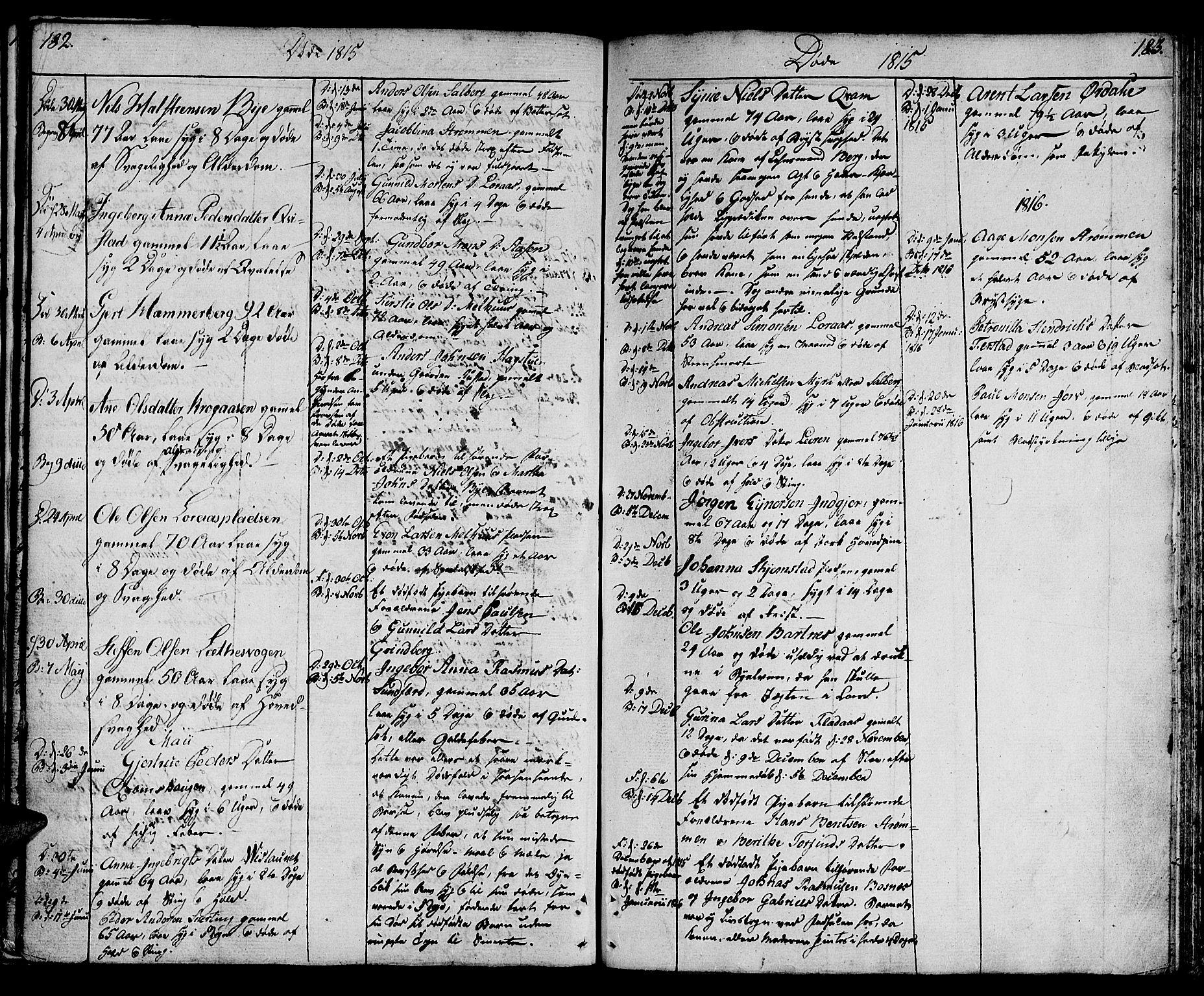 SAT, Ministerialprotokoller, klokkerbøker og fødselsregistre - Nord-Trøndelag, 730/L0274: Ministerialbok nr. 730A03, 1802-1816, s. 182-183