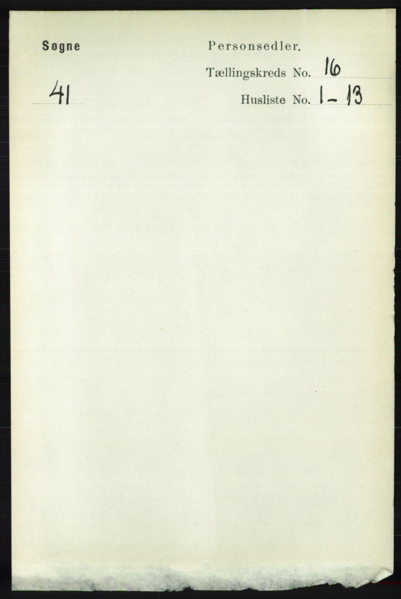 RA, Folketelling 1891 for 1018 Søgne herred, 1891, s. 4394