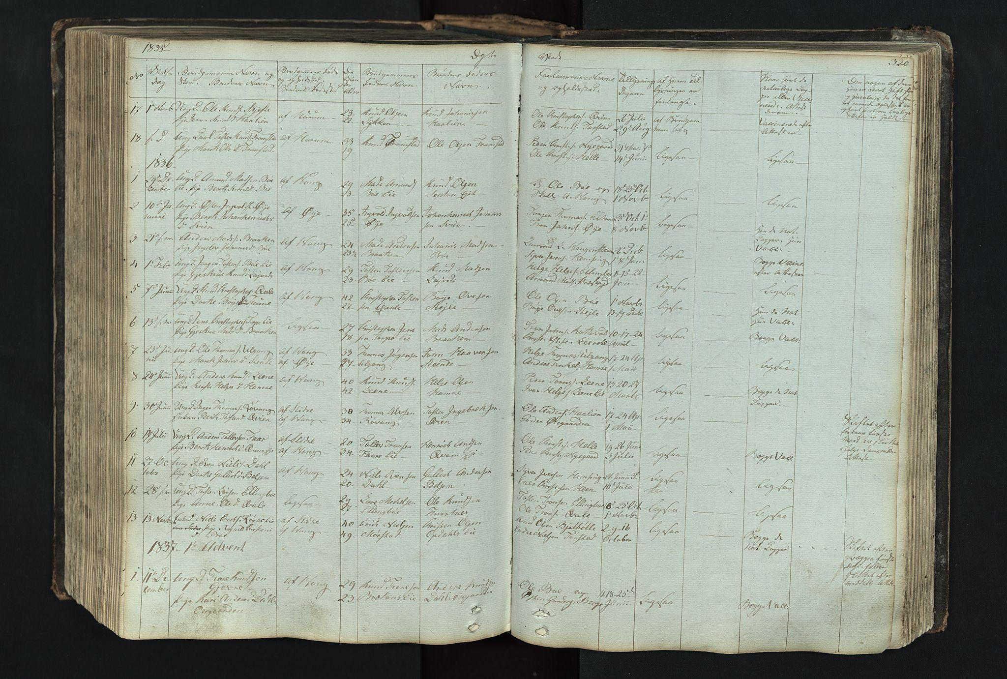 SAH, Vang prestekontor, Valdres, Klokkerbok nr. 4, 1835-1892, s. 320