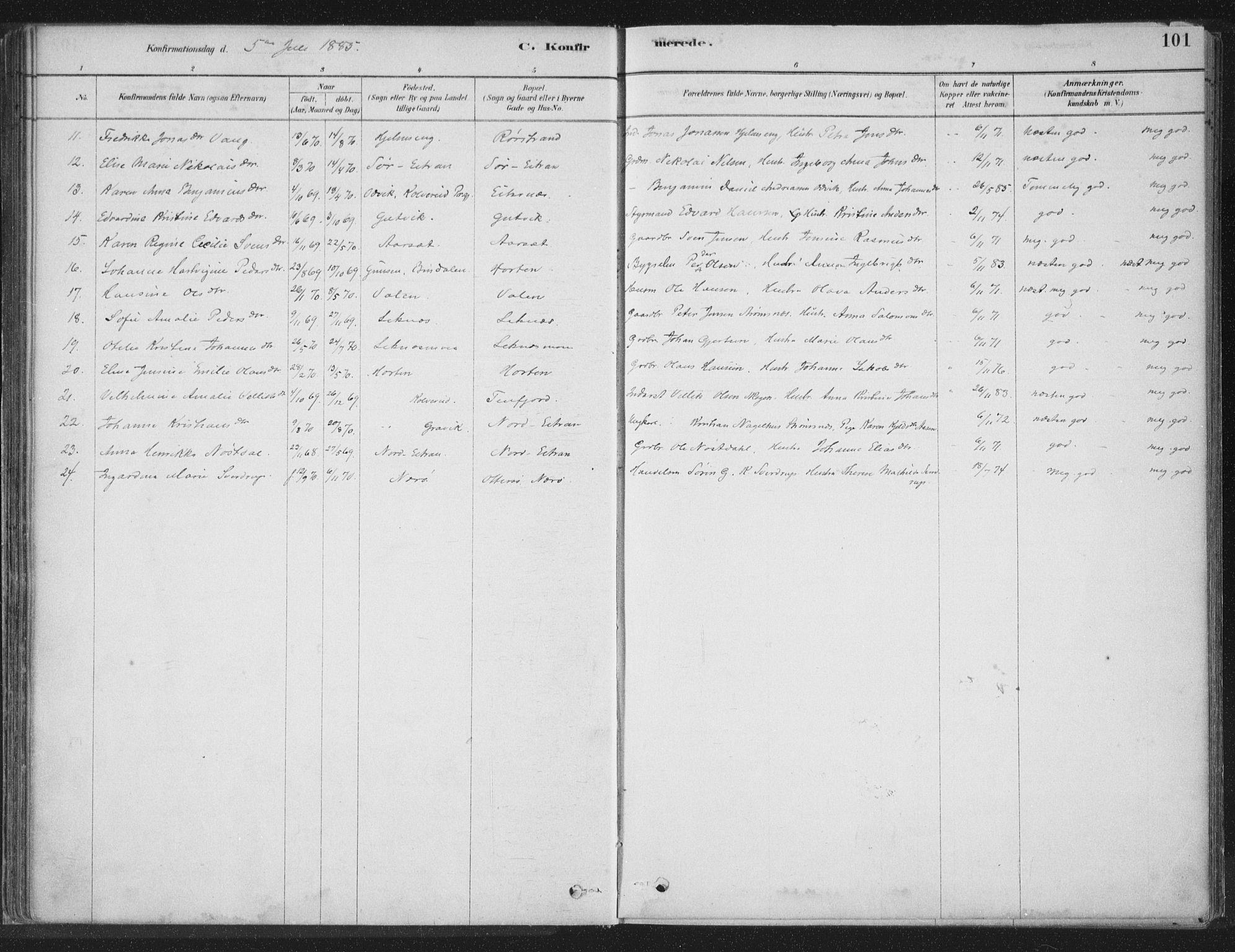 SAT, Ministerialprotokoller, klokkerbøker og fødselsregistre - Nord-Trøndelag, 788/L0697: Ministerialbok nr. 788A04, 1878-1902, s. 101