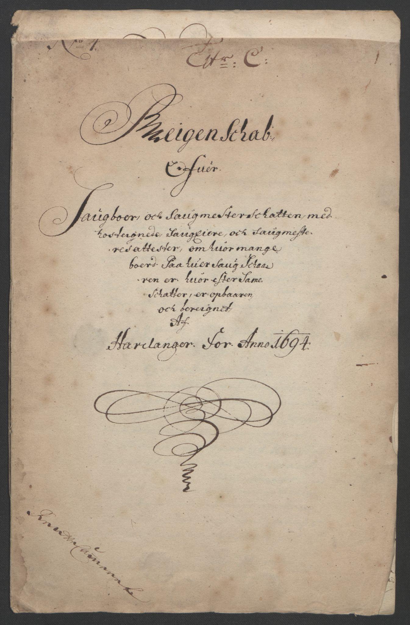 RA, Rentekammeret inntil 1814, Reviderte regnskaper, Fogderegnskap, R48/L2975: Fogderegnskap Sunnhordland og Hardanger, 1694, s. 298