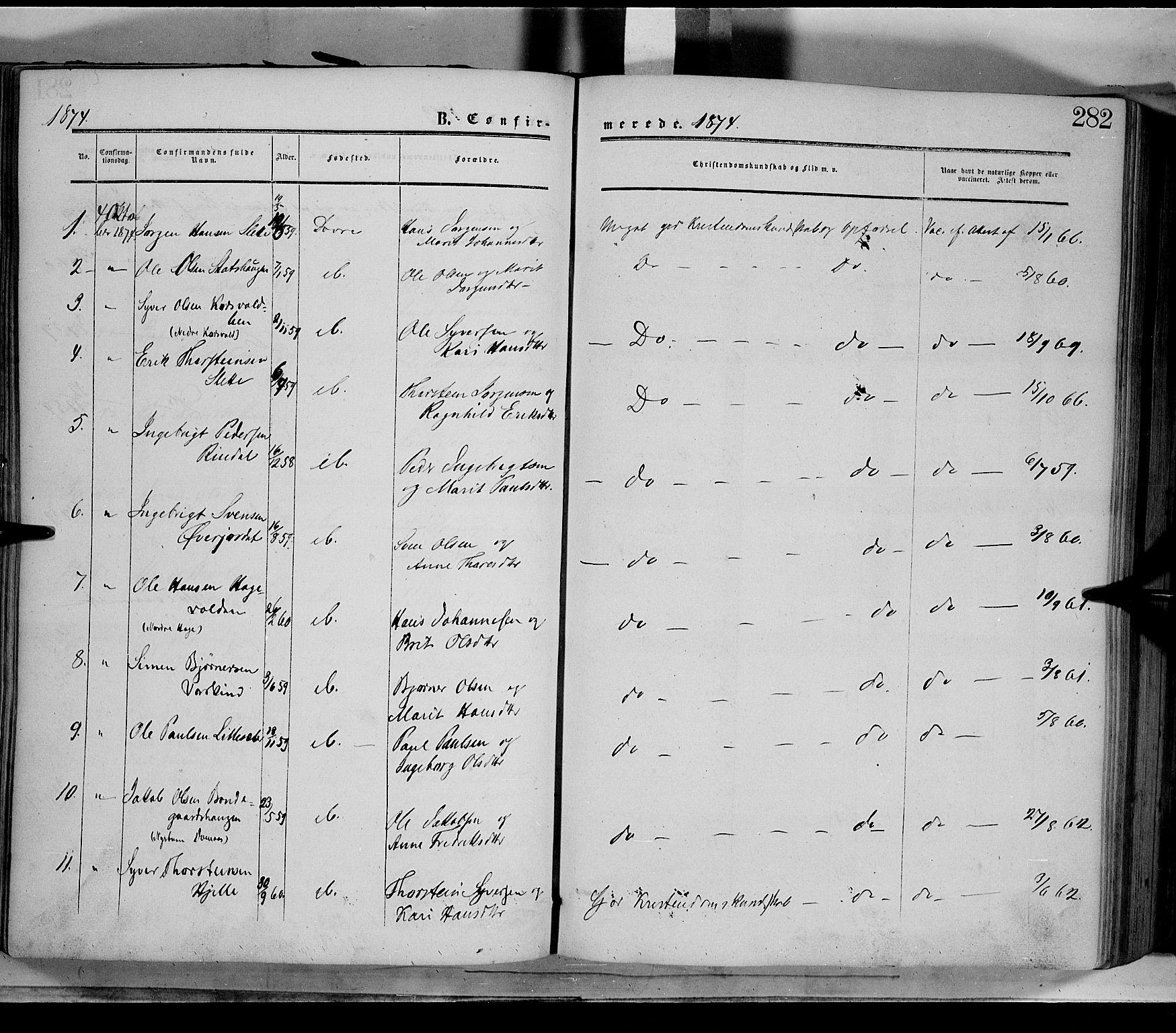 SAH, Dovre prestekontor, Ministerialbok nr. 1, 1854-1878, s. 282