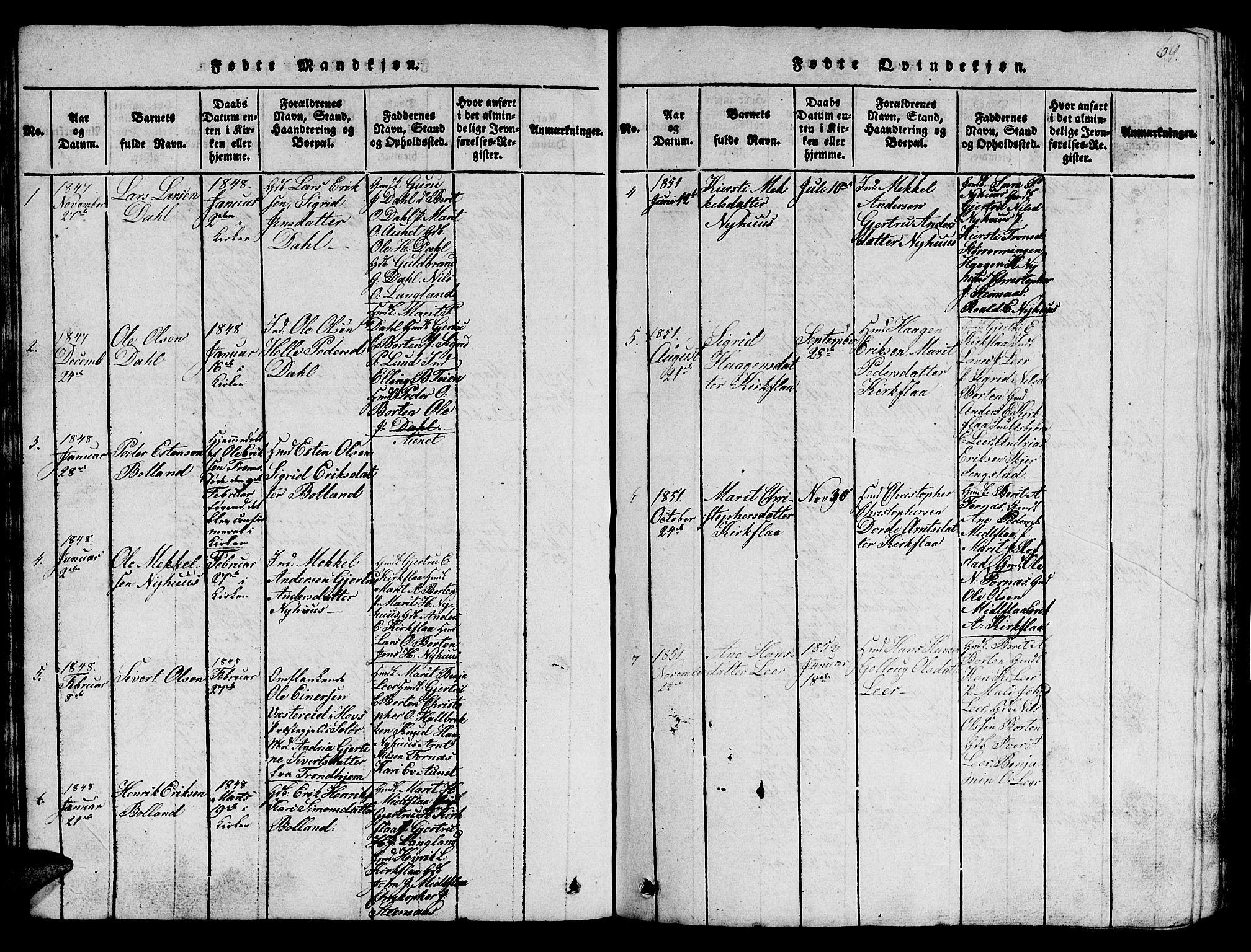 SAT, Ministerialprotokoller, klokkerbøker og fødselsregistre - Sør-Trøndelag, 693/L1121: Klokkerbok nr. 693C02, 1816-1869, s. 69