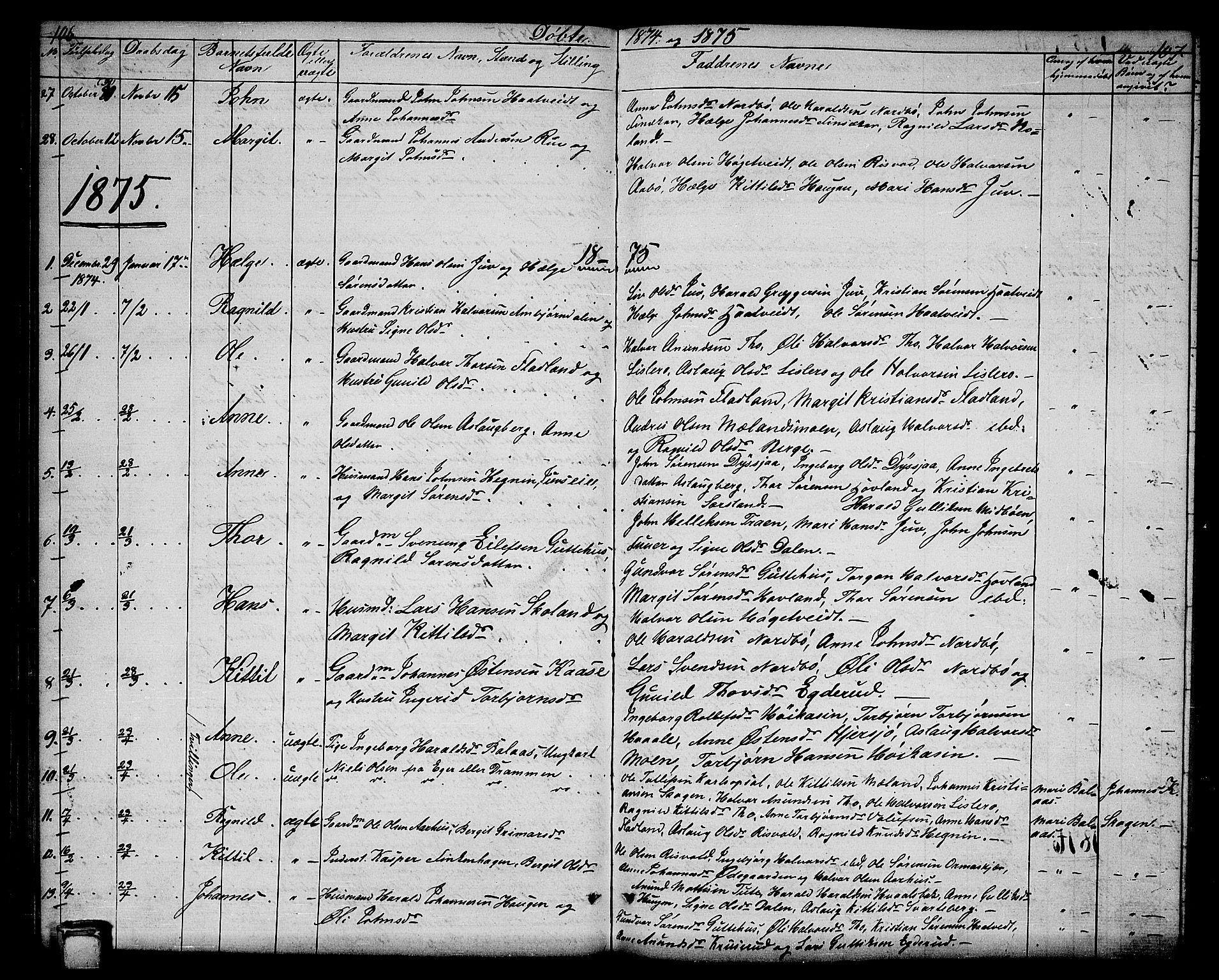 SAKO, Hjartdal kirkebøker, G/Ga/L0002: Klokkerbok nr. I 2, 1854-1888, s. 106-107