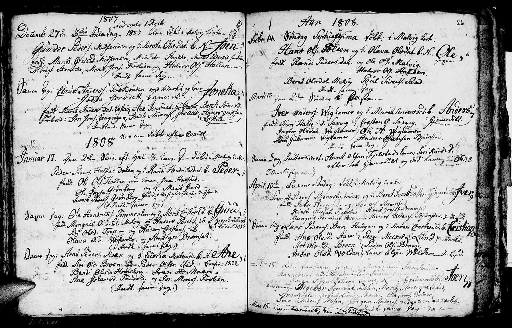 SAT, Ministerialprotokoller, klokkerbøker og fødselsregistre - Sør-Trøndelag, 616/L0419: Klokkerbok nr. 616C02, 1797-1816, s. 26