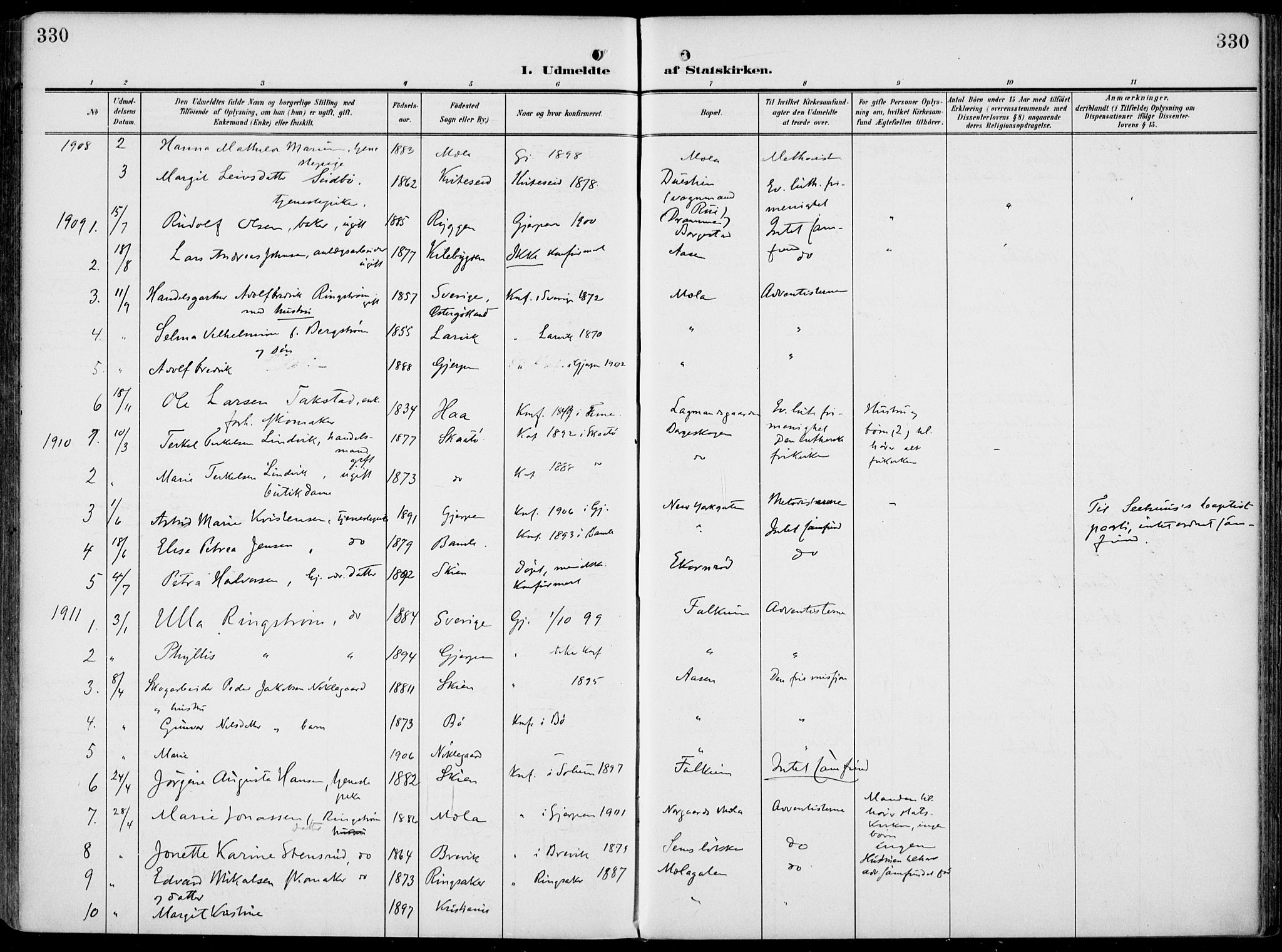 SAKO, Gjerpen kirkebøker, F/Fa/L0012: Ministerialbok nr. 12, 1905-1913, s. 330