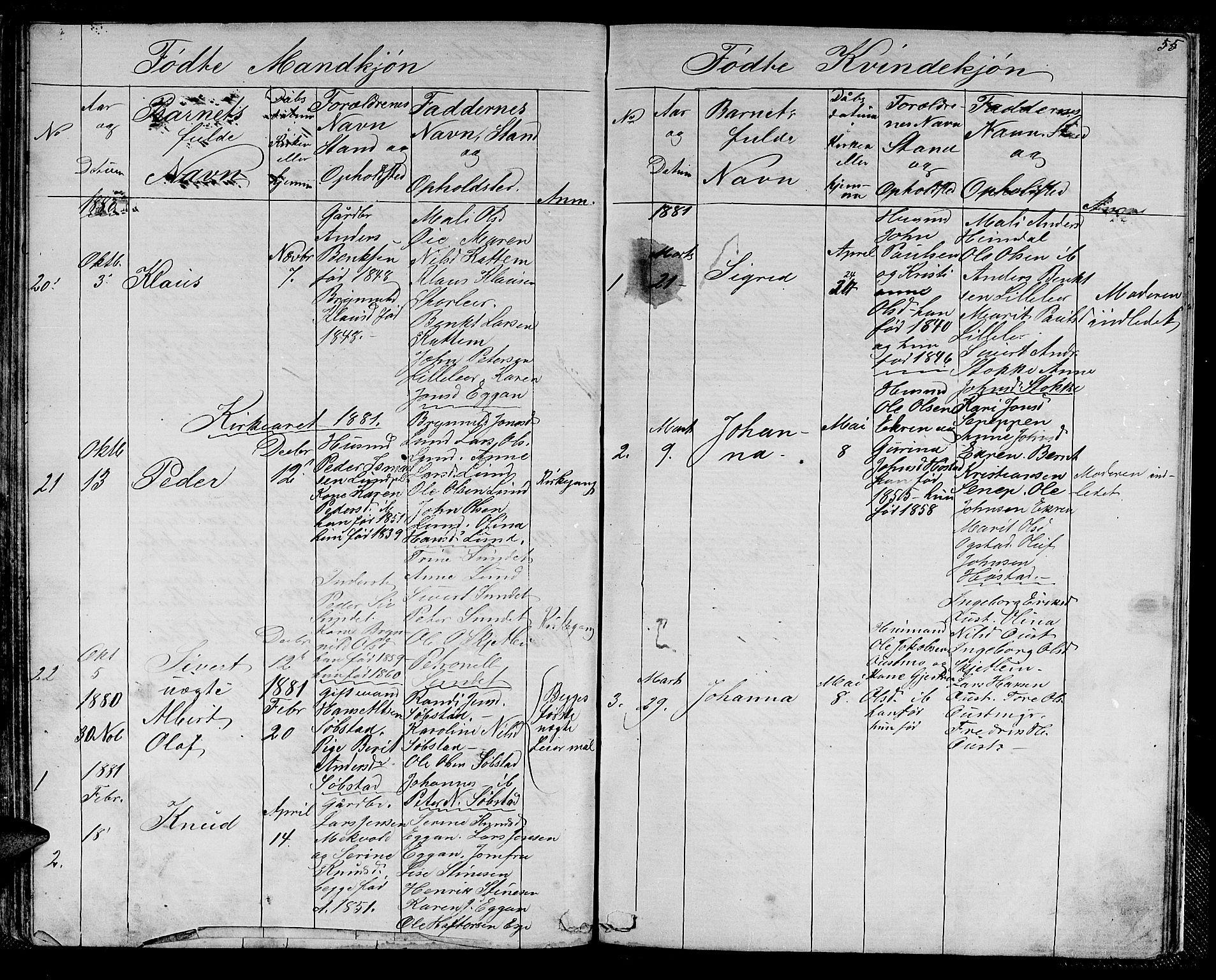 SAT, Ministerialprotokoller, klokkerbøker og fødselsregistre - Sør-Trøndelag, 613/L0394: Klokkerbok nr. 613C02, 1862-1886, s. 55