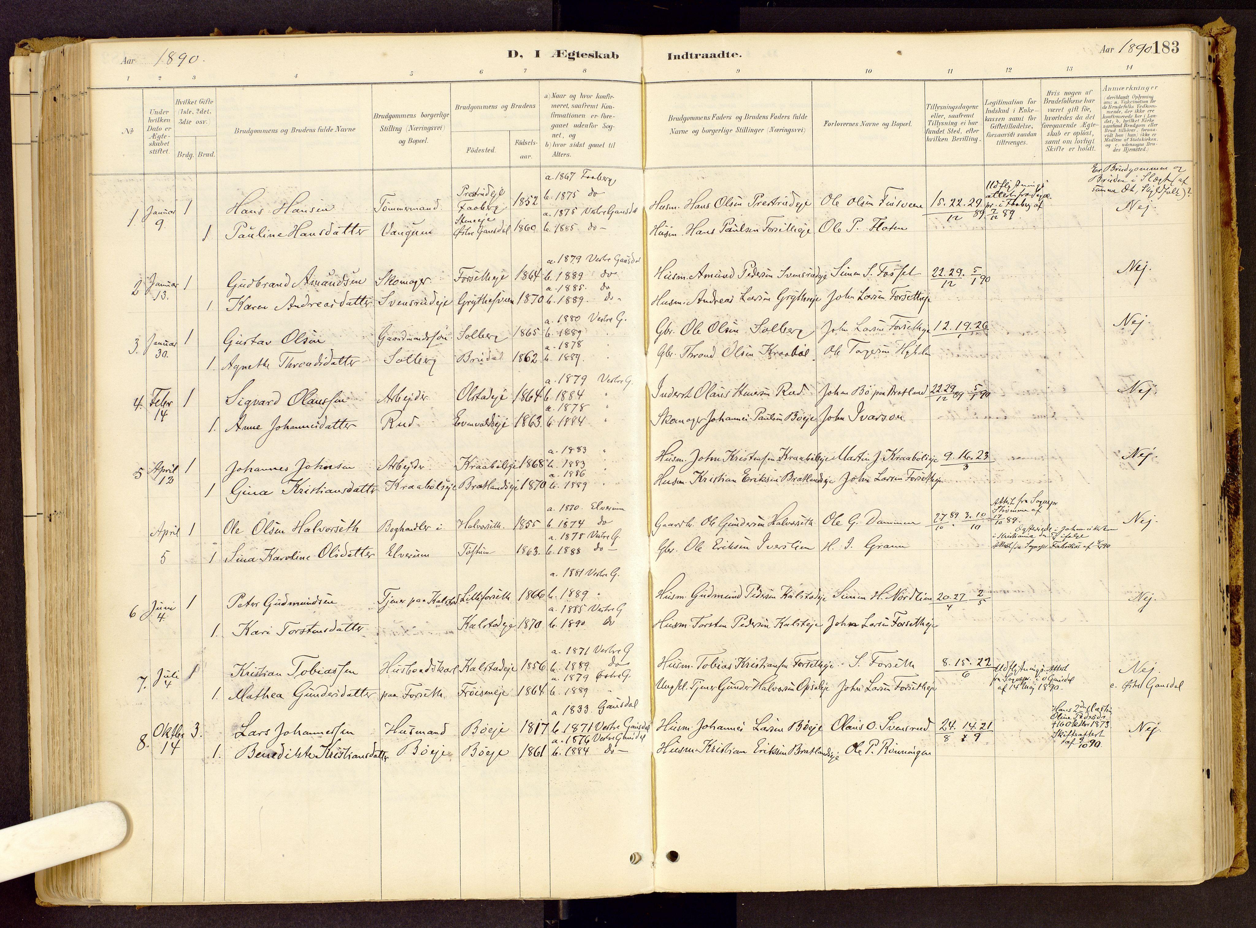 SAH, Vestre Gausdal prestekontor, Ministerialbok nr. 1, 1887-1914, s. 183