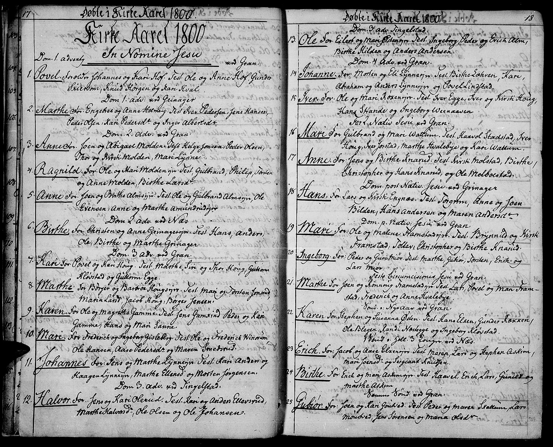 SAH, Gran prestekontor, Ministerialbok nr. 8, 1798-1811, s. 17-18