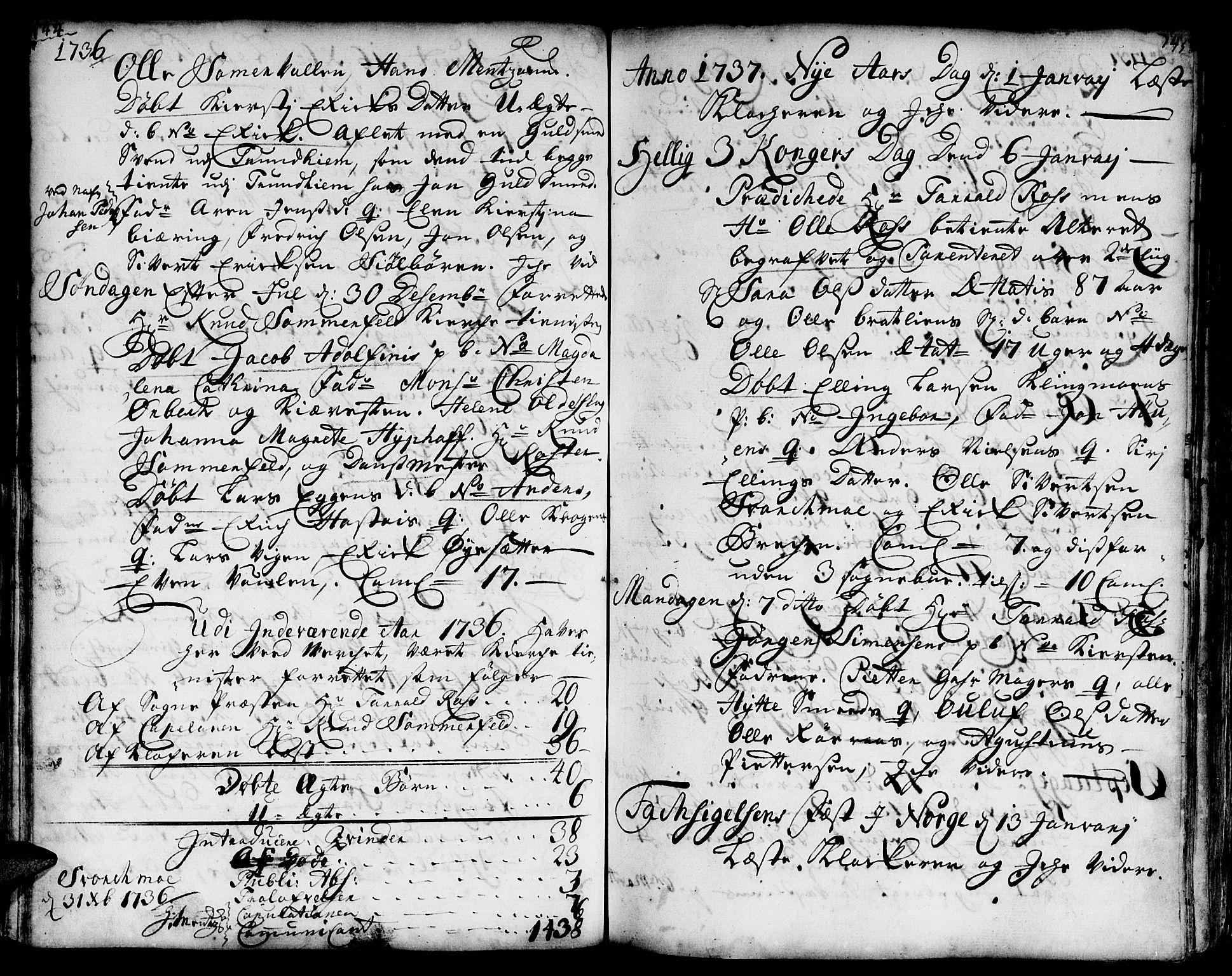SAT, Ministerialprotokoller, klokkerbøker og fødselsregistre - Sør-Trøndelag, 671/L0839: Ministerialbok nr. 671A01, 1730-1755, s. 144-145