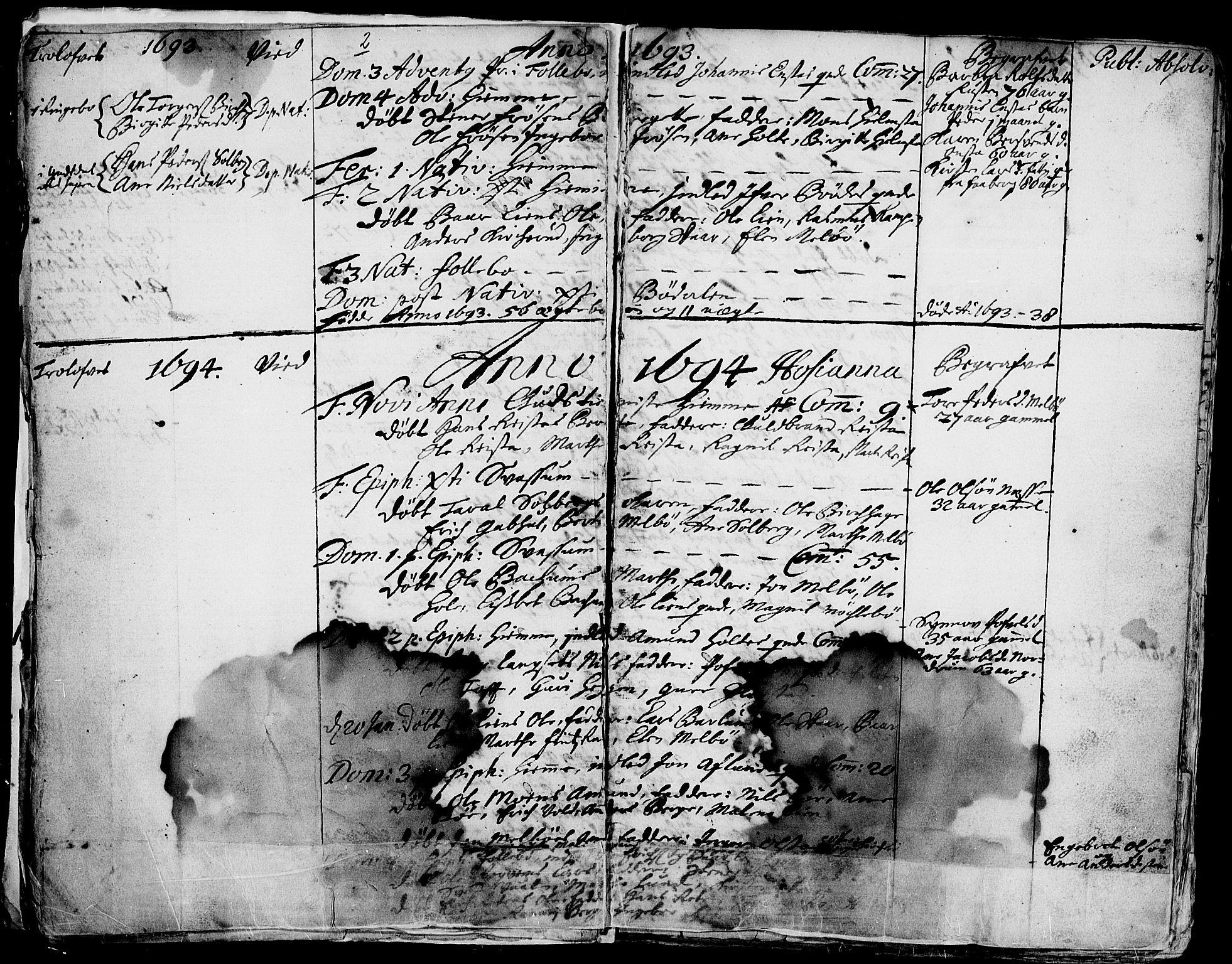 SAH, Gausdal prestekontor, Ministerialbok nr. 1, 1693-1728, s. 2
