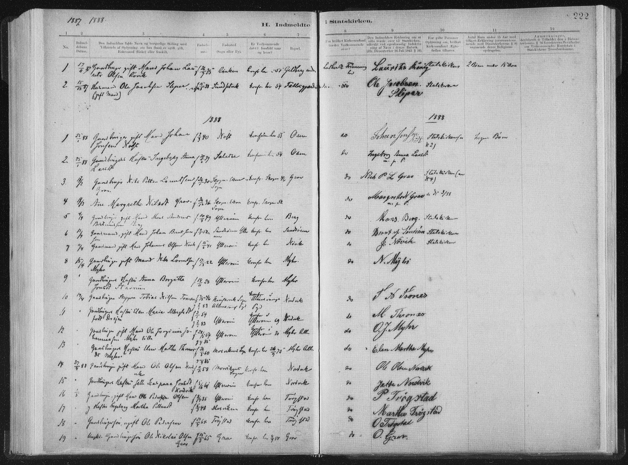 SAT, Ministerialprotokoller, klokkerbøker og fødselsregistre - Nord-Trøndelag, 722/L0220: Ministerialbok nr. 722A07, 1881-1908, s. 222