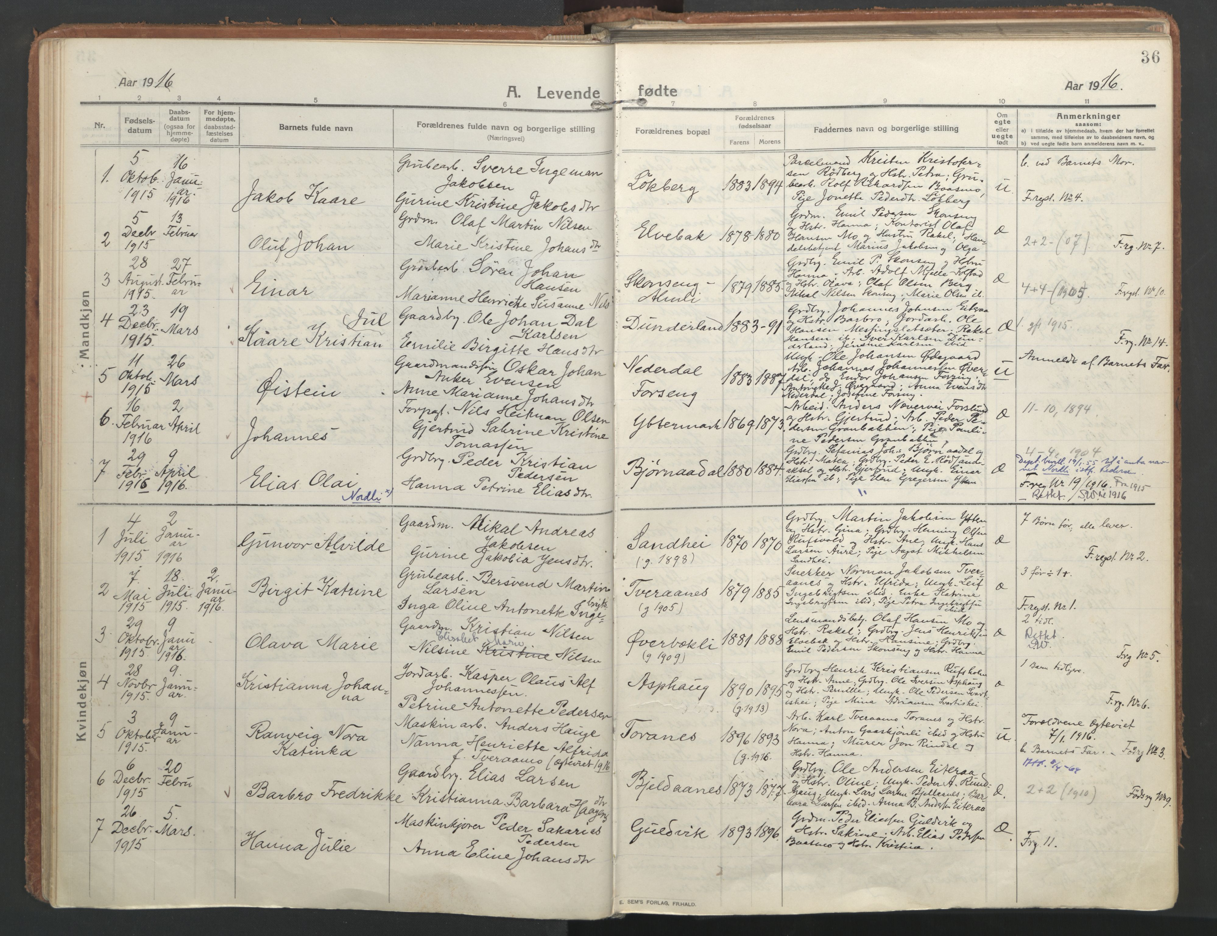 SAT, Ministerialprotokoller, klokkerbøker og fødselsregistre - Nordland, 827/L0404: Ministerialbok nr. 827A16, 1912-1925, s. 36