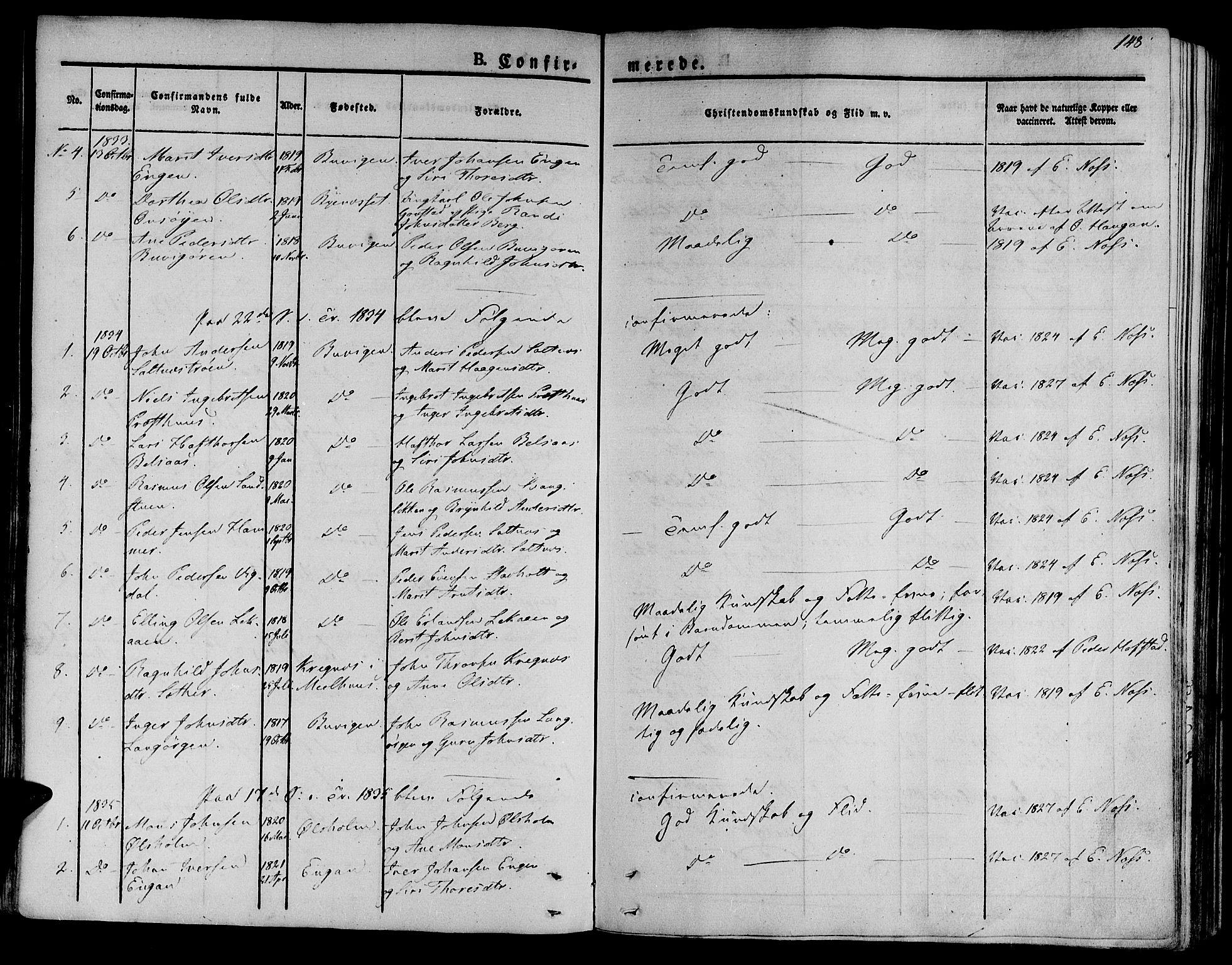 SAT, Ministerialprotokoller, klokkerbøker og fødselsregistre - Sør-Trøndelag, 612/L0375: Ministerialbok nr. 612A07 /2, 1829-1845, s. 148