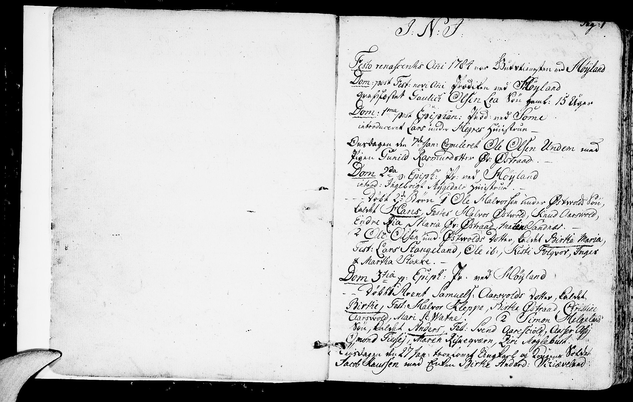 SAST, Høyland sokneprestkontor, 30BA/L0004: Ministerialbok nr. A 4, 1784-1803, s. 1