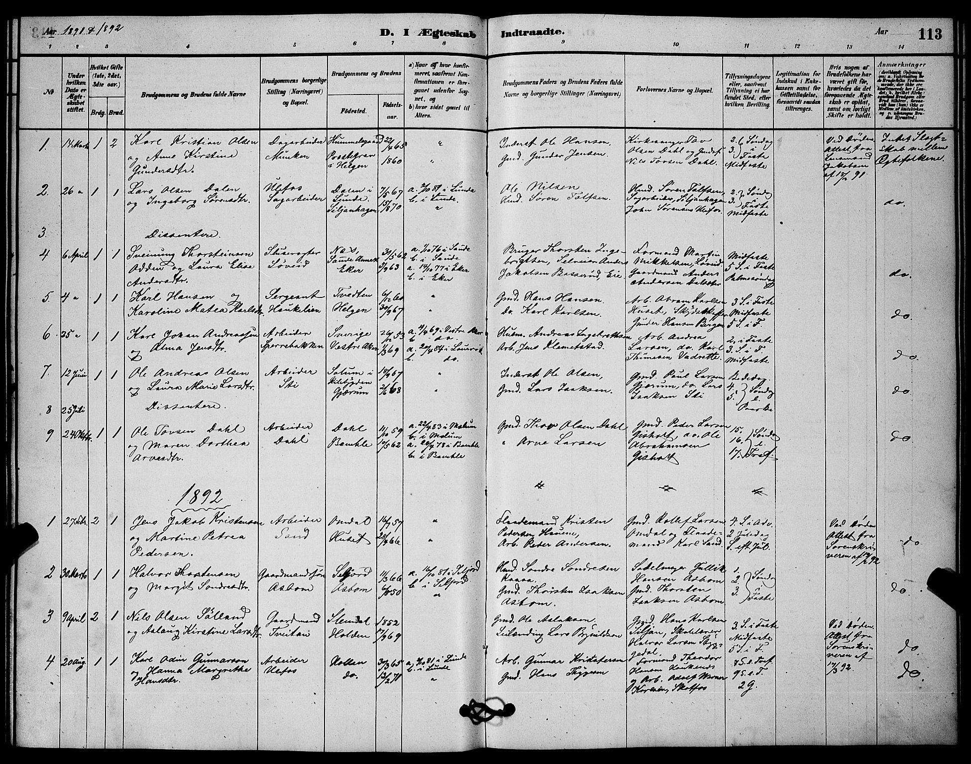 SAKO, Solum kirkebøker, G/Gb/L0003: Klokkerbok nr. II 3, 1880-1898, s. 113