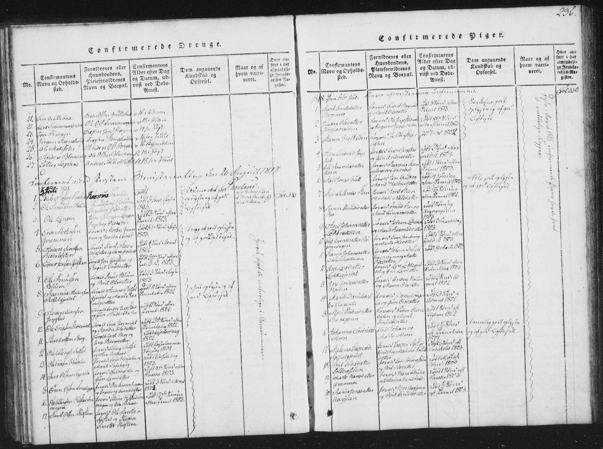 SAT, Ministerialprotokoller, klokkerbøker og fødselsregistre - Sør-Trøndelag, 672/L0862: Klokkerbok nr. 672C01, 1816-1831, s. 236