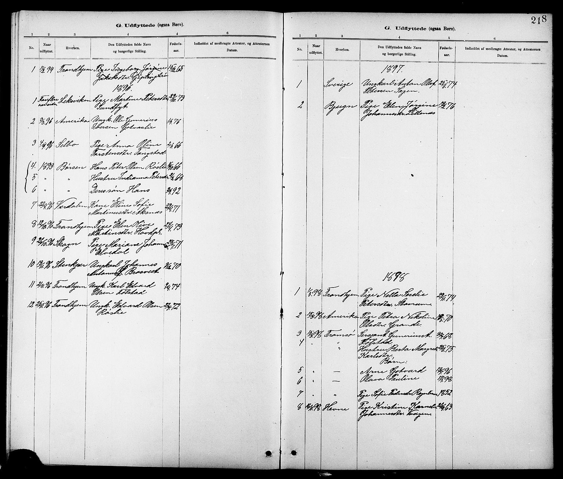 SAT, Ministerialprotokoller, klokkerbøker og fødselsregistre - Nord-Trøndelag, 744/L0423: Klokkerbok nr. 744C02, 1886-1905, s. 218
