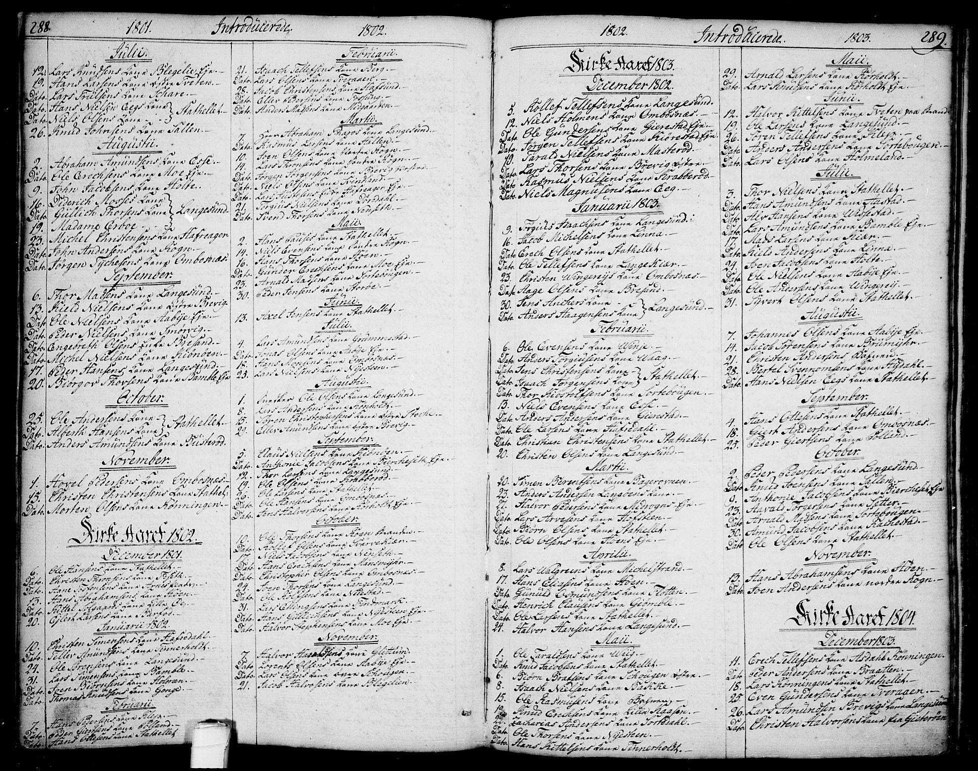 SAKO, Bamble kirkebøker, F/Fa/L0002: Ministerialbok nr. I 2, 1775-1814, s. 288-289