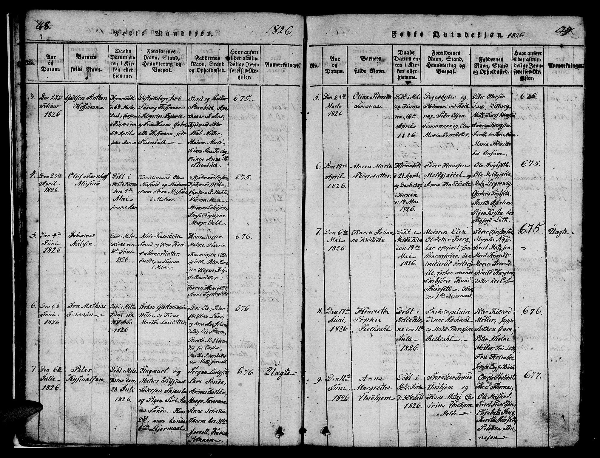 SAT, Ministerialprotokoller, klokkerbøker og fødselsregistre - Møre og Romsdal, 558/L0700: Klokkerbok nr. 558C01, 1818-1868, s. 48-49