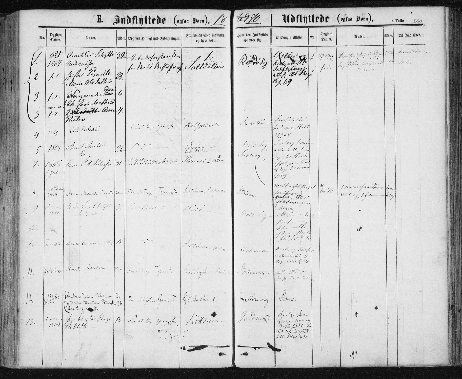 SAT, Ministerialprotokoller, klokkerbøker og fødselsregistre - Nordland, 801/L0008: Ministerialbok nr. 801A08, 1864-1875, s. 360