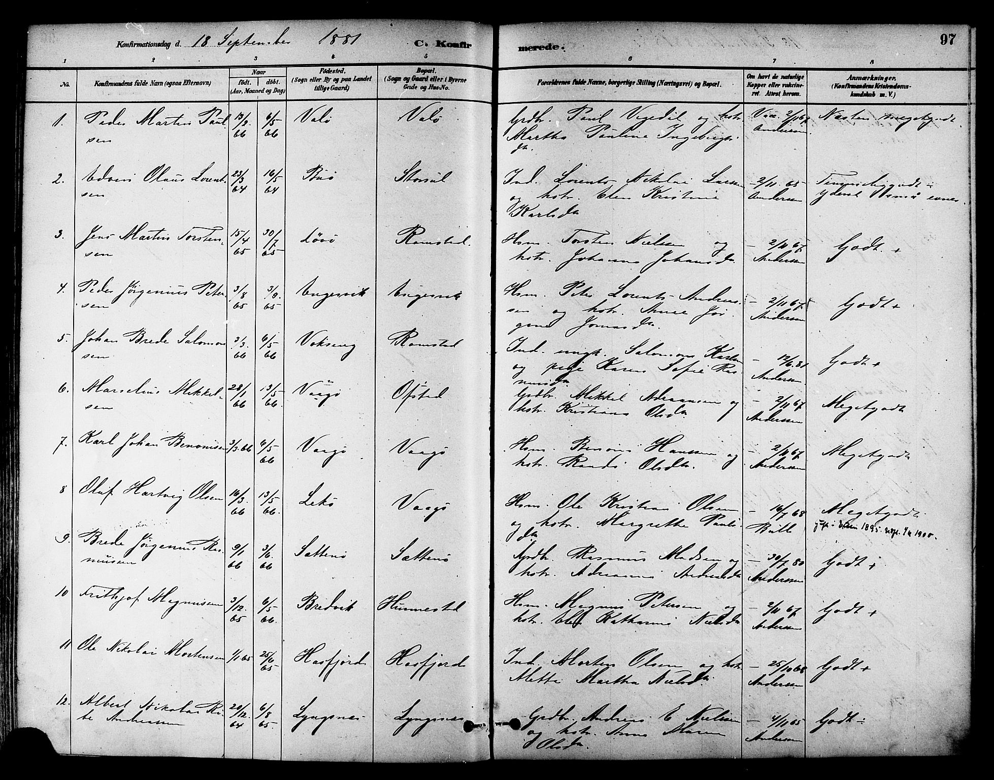 SAT, Ministerialprotokoller, klokkerbøker og fødselsregistre - Nord-Trøndelag, 786/L0686: Ministerialbok nr. 786A02, 1880-1887, s. 97