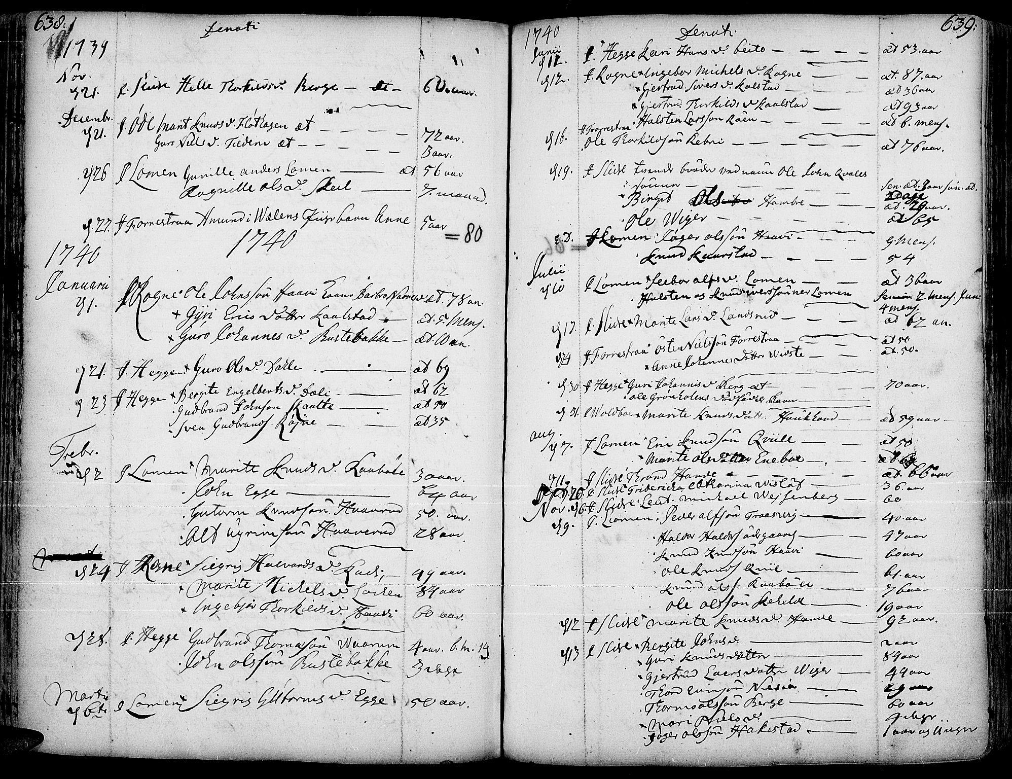 SAH, Slidre prestekontor, Ministerialbok nr. 1, 1724-1814, s. 638-639