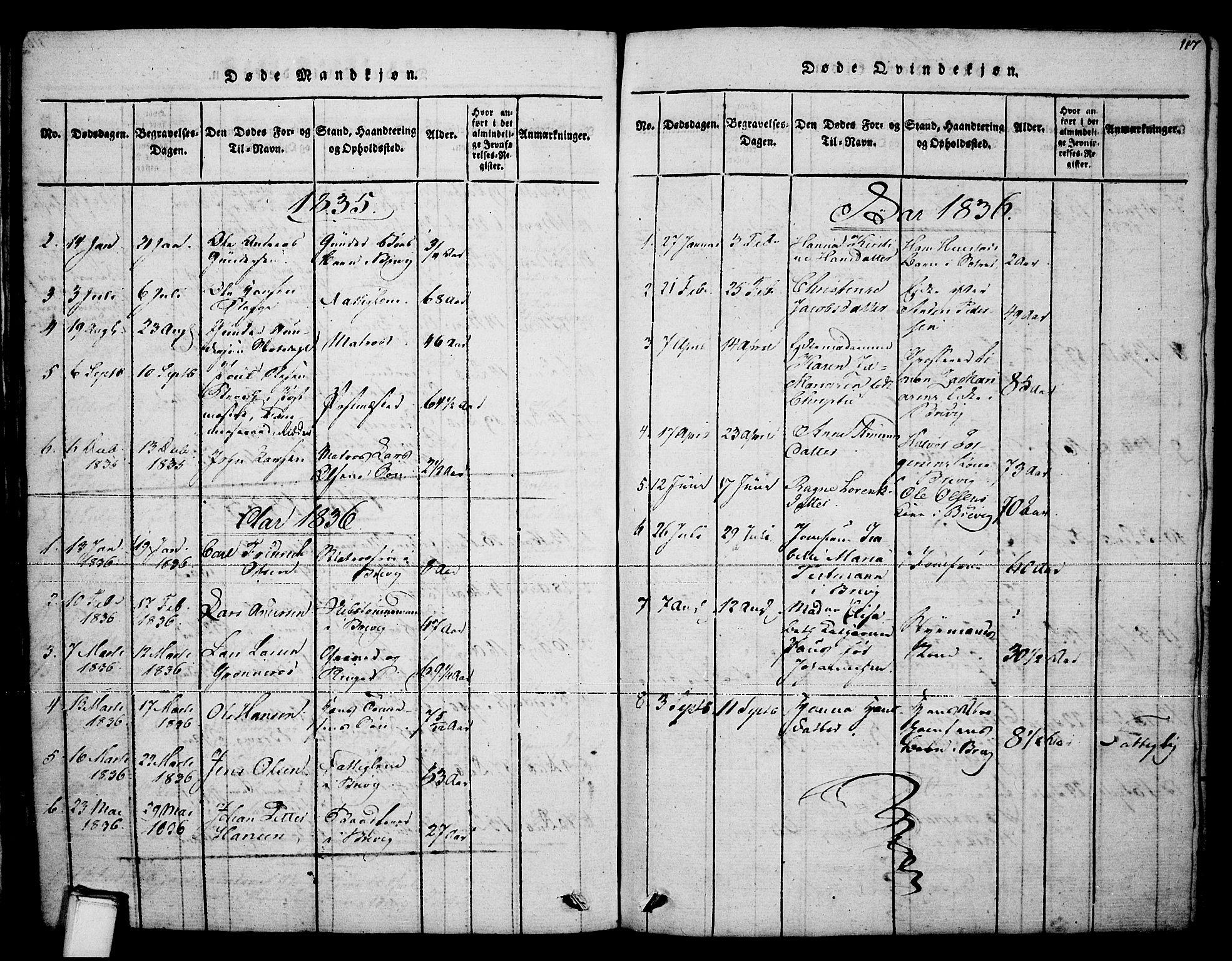 SAKO, Brevik kirkebøker, F/Fa/L0004: Ministerialbok nr. 4, 1814-1846, s. 117