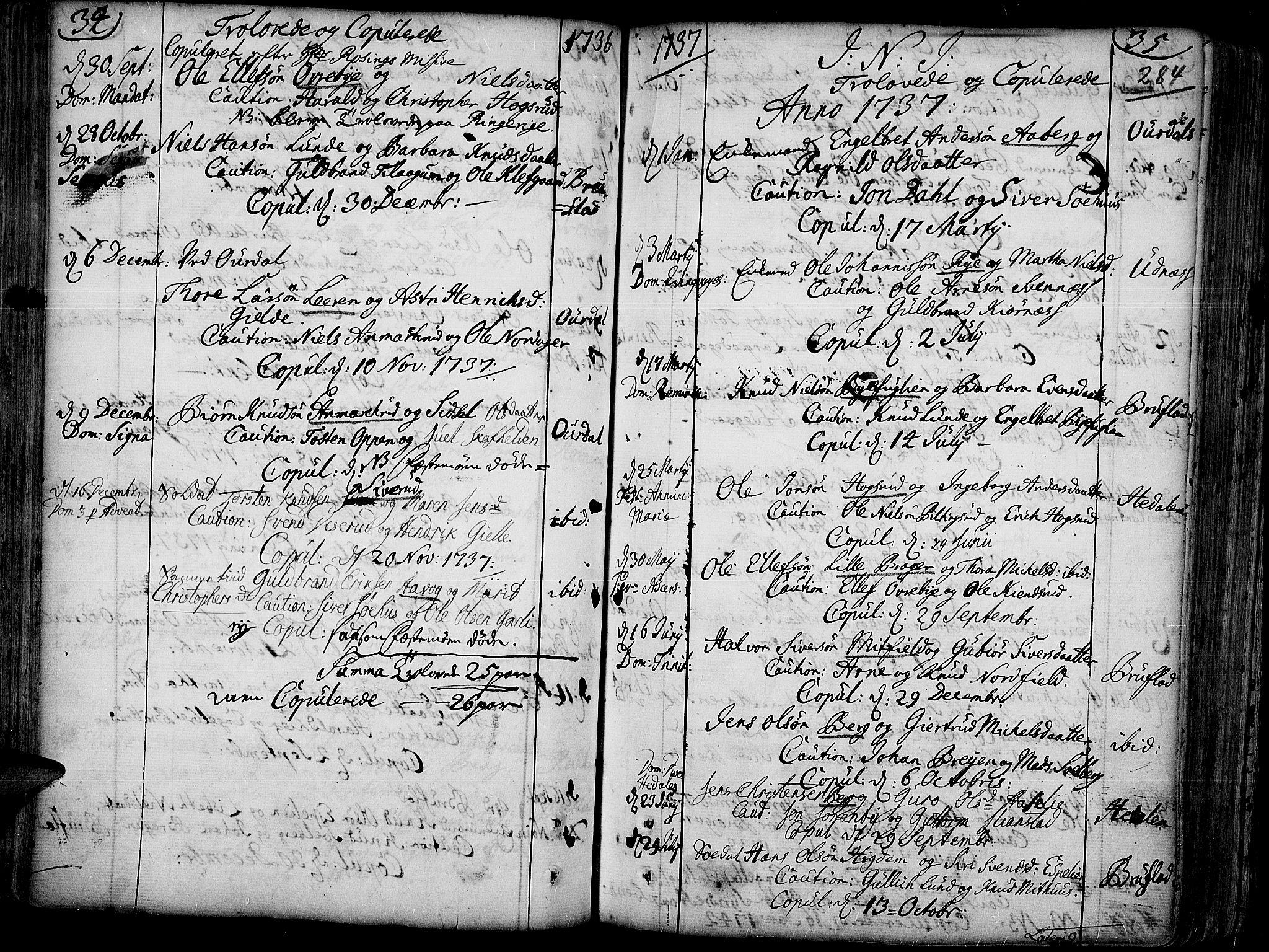 SAH, Aurdal prestekontor, Ministerialbok nr. 4, 1730-1762, s. 34-35
