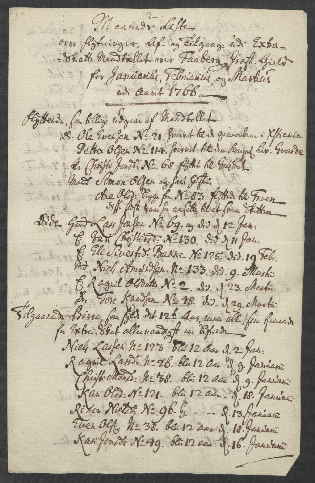 RA, Rentekammeret inntil 1814, Reviderte regnskaper, Fogderegnskap, R17/L1266: Ekstraskatten Gudbrandsdal, 1762-1766, s. 546