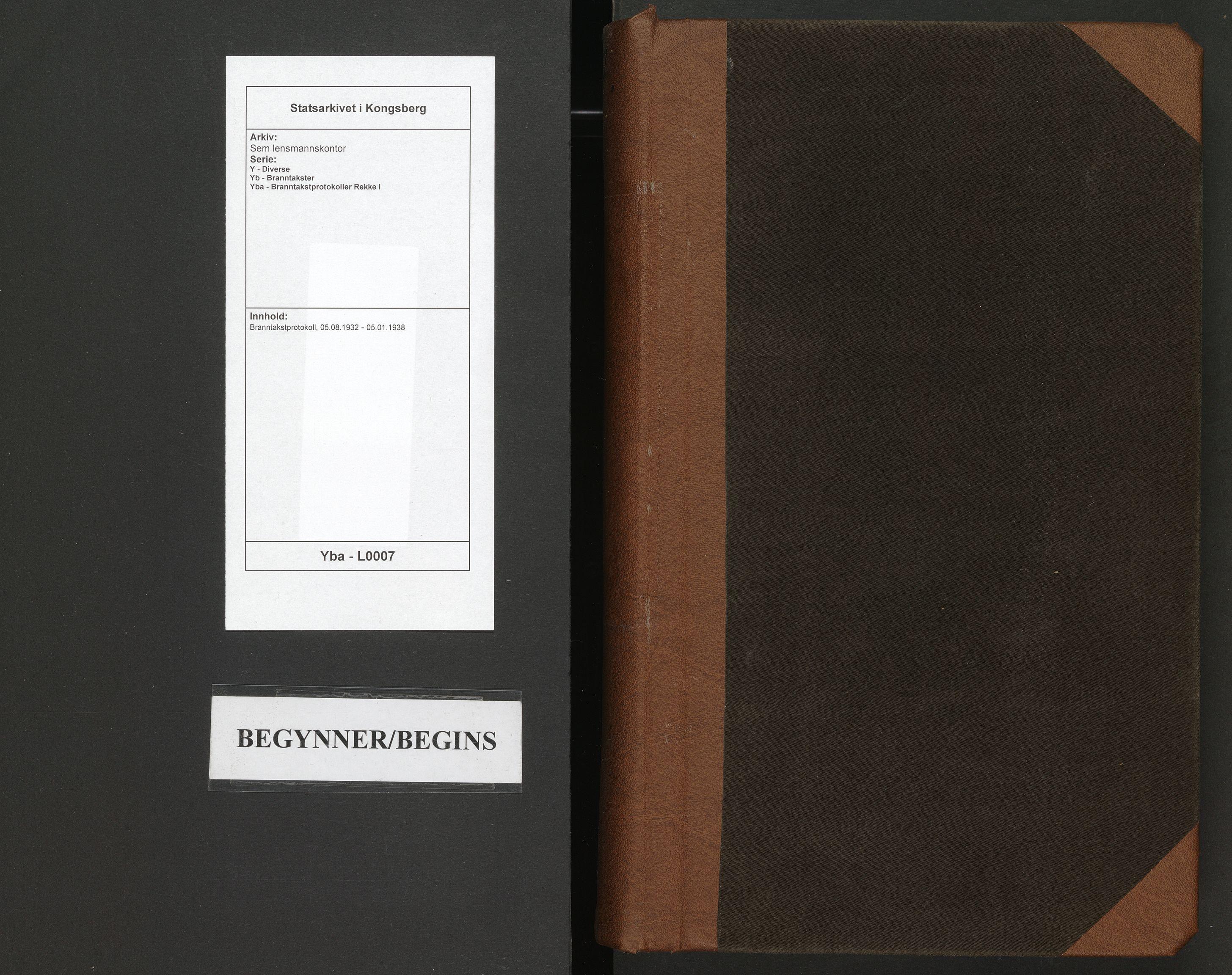 SAKO, Sem lensmannskontor, Y/Yb/Yba/L0007: Branntakstprotokoll, 1932-1938