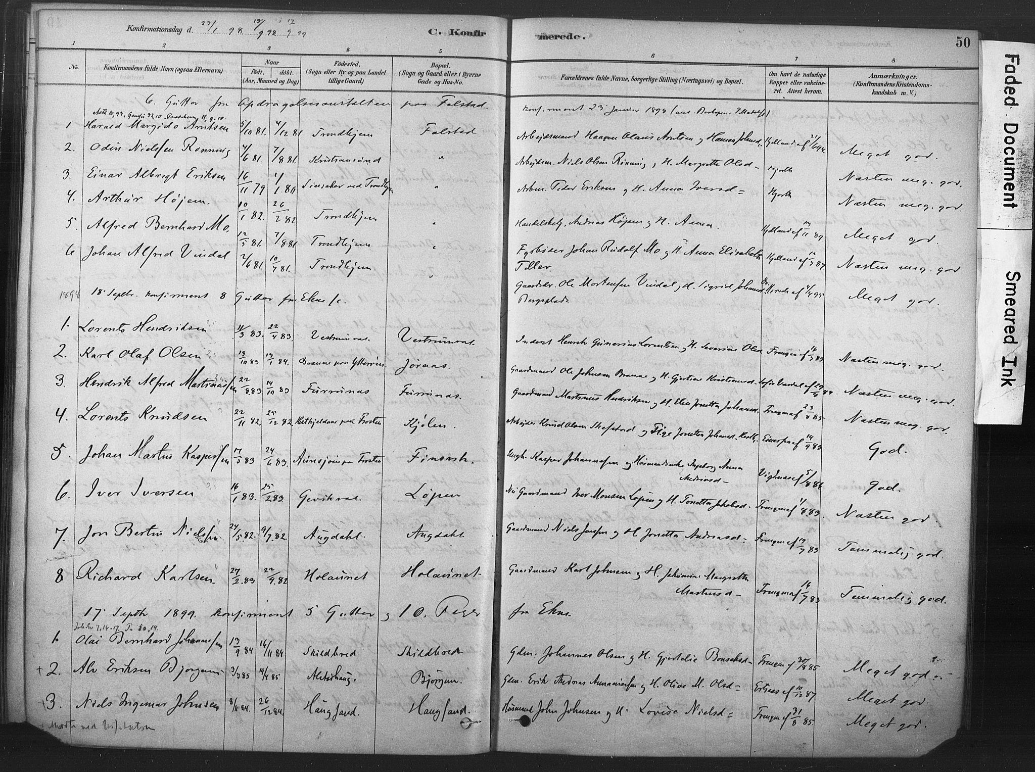 SAT, Ministerialprotokoller, klokkerbøker og fødselsregistre - Nord-Trøndelag, 719/L0178: Ministerialbok nr. 719A01, 1878-1900, s. 50