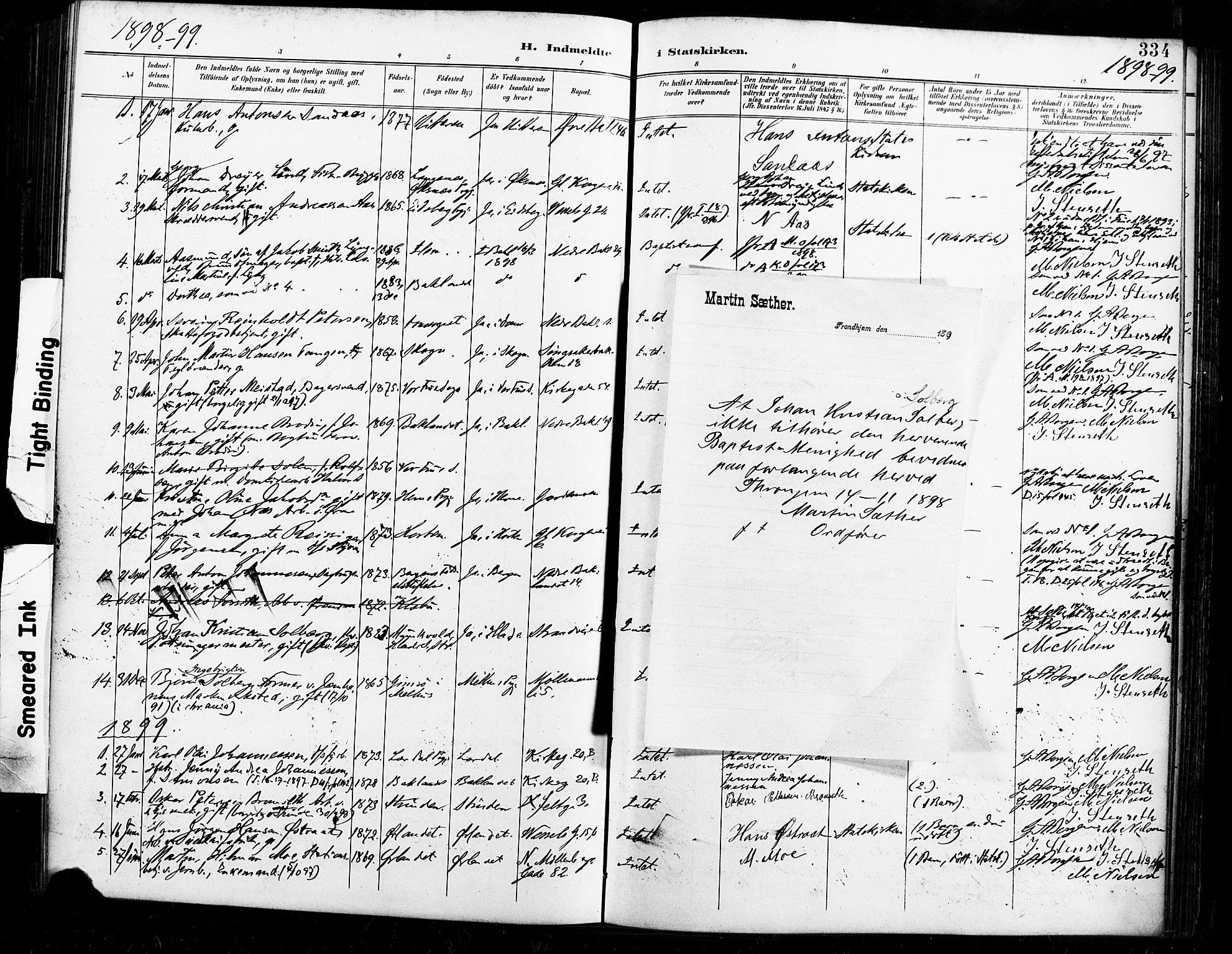 SAT, Ministerialprotokoller, klokkerbøker og fødselsregistre - Sør-Trøndelag, 604/L0198: Ministerialbok nr. 604A19, 1893-1900, s. 334