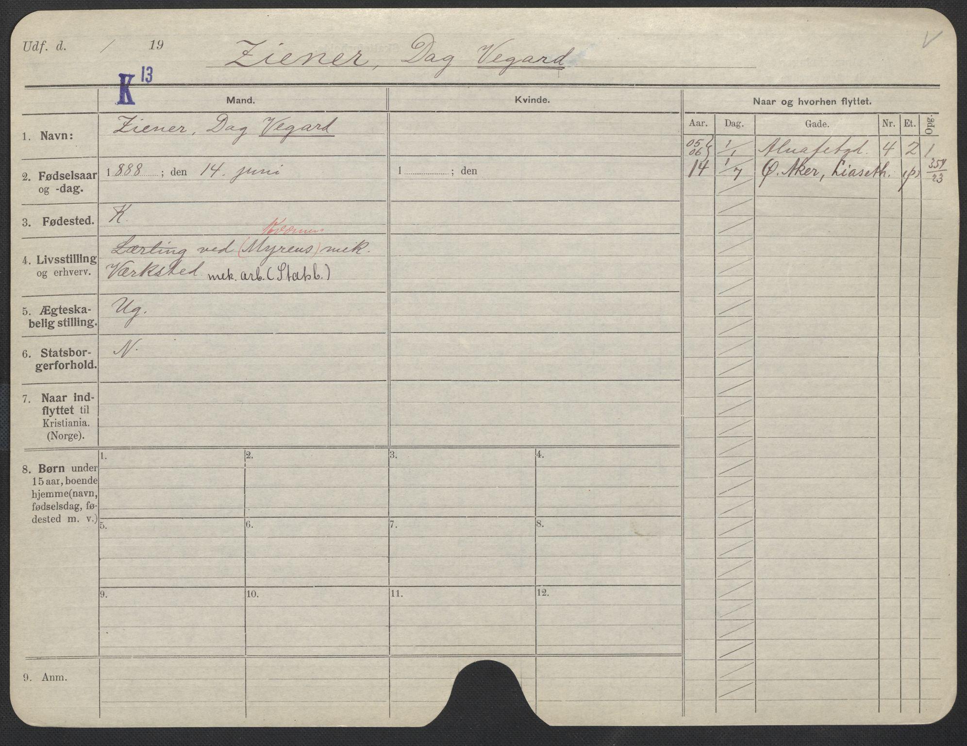 SAO, Oslo folkeregister, Registerkort, F/Fa/Fac/L0011: Menn, 1906-1914, s. 1001a