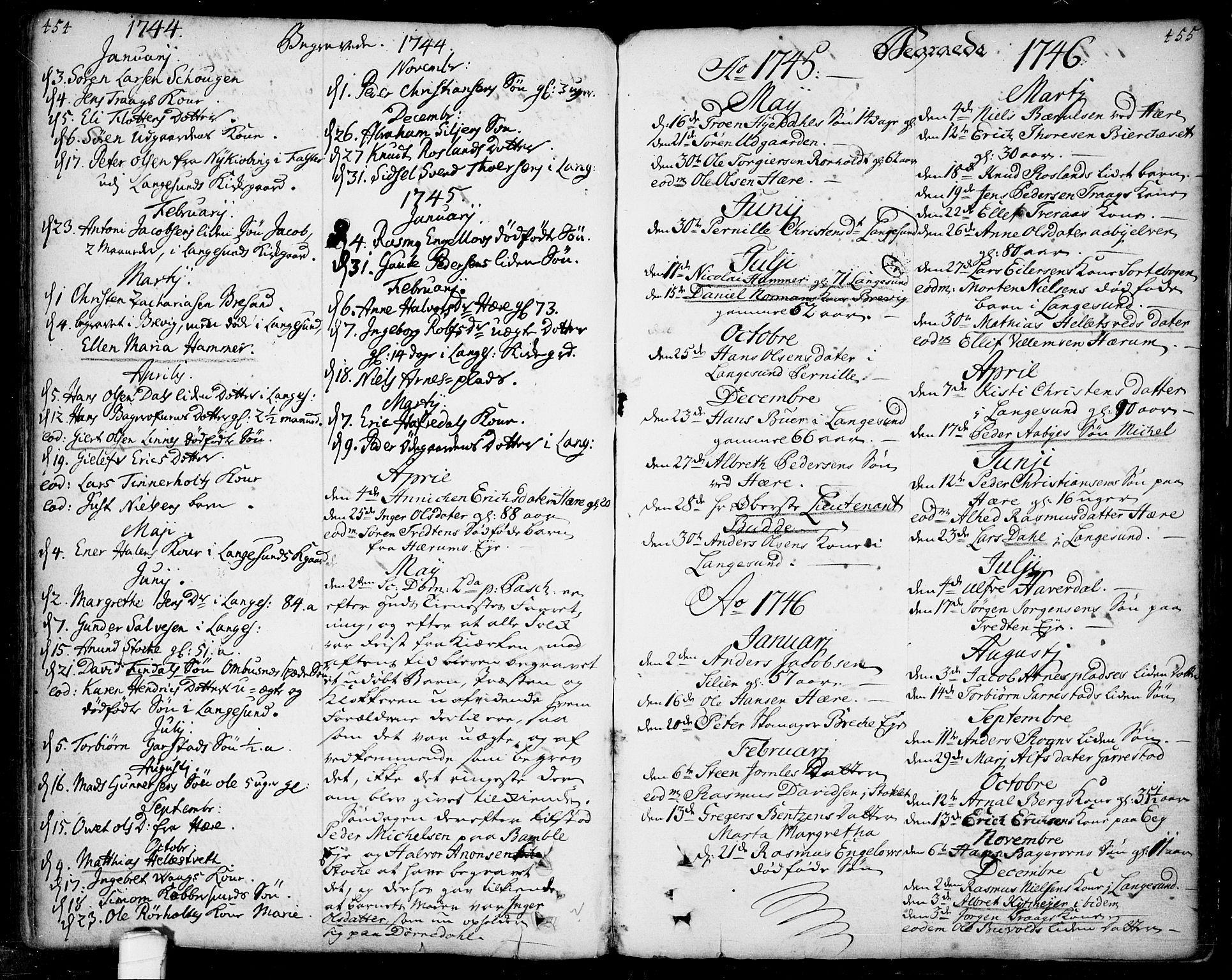 SAKO, Bamble kirkebøker, F/Fa/L0001: Ministerialbok nr. I 1, 1702-1774, s. 454-455