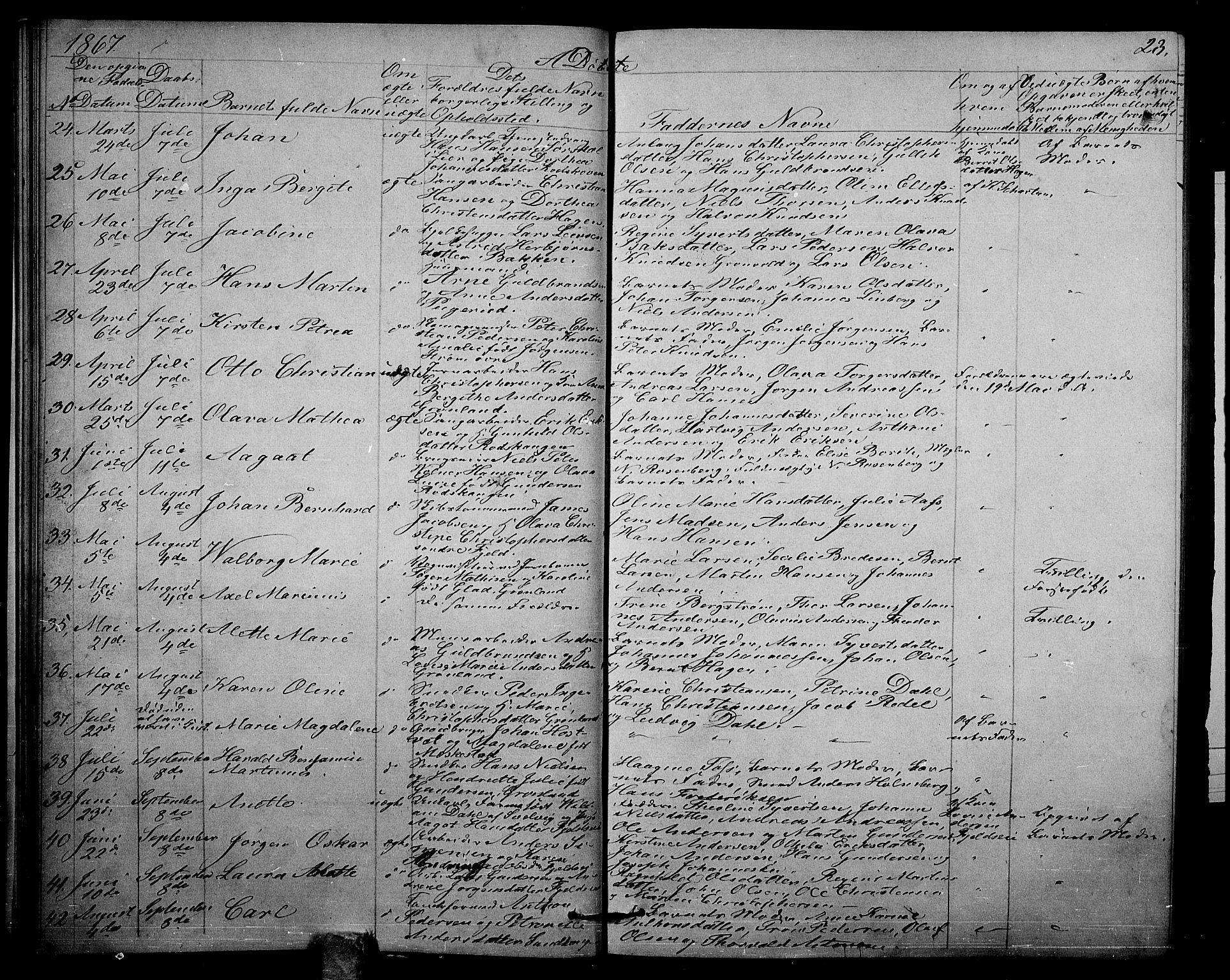 SAKO, Strømsgodset kirkebøker, G/Ga/L0001: Klokkerbok nr. 1, 1860-1884, s. 23